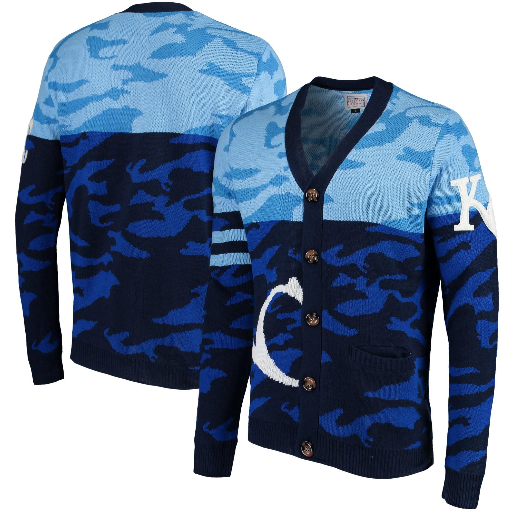Kansas City Royals Camouflage Cardigan Sweater - Royal
