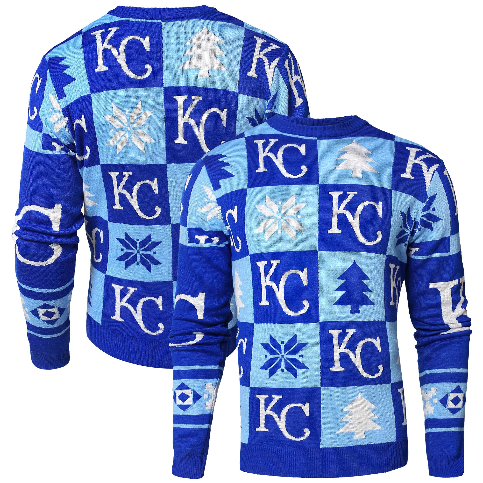 Kansas City Royals Patches Ugly Pullover Sweater - Royal