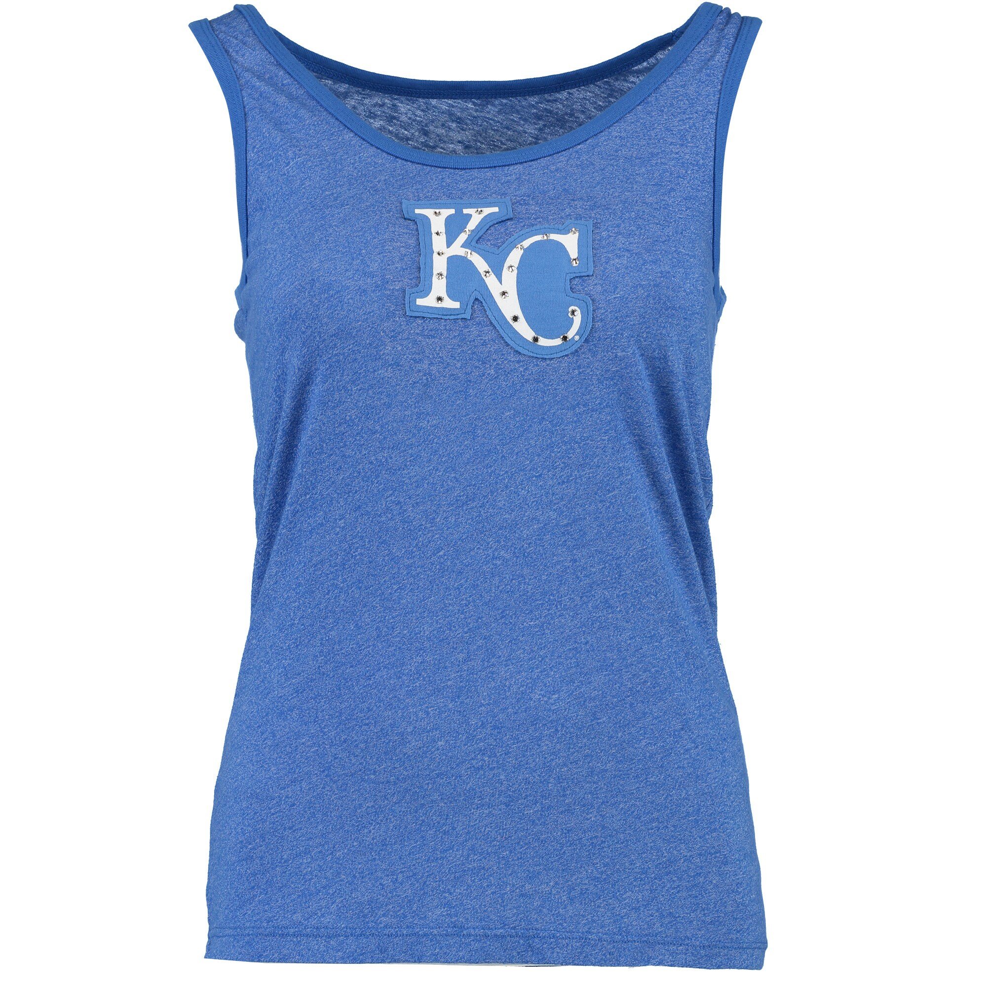 Kansas City Royals Majestic Threads Women's Tri-Blend Tank Top with Bling Applique - Royal