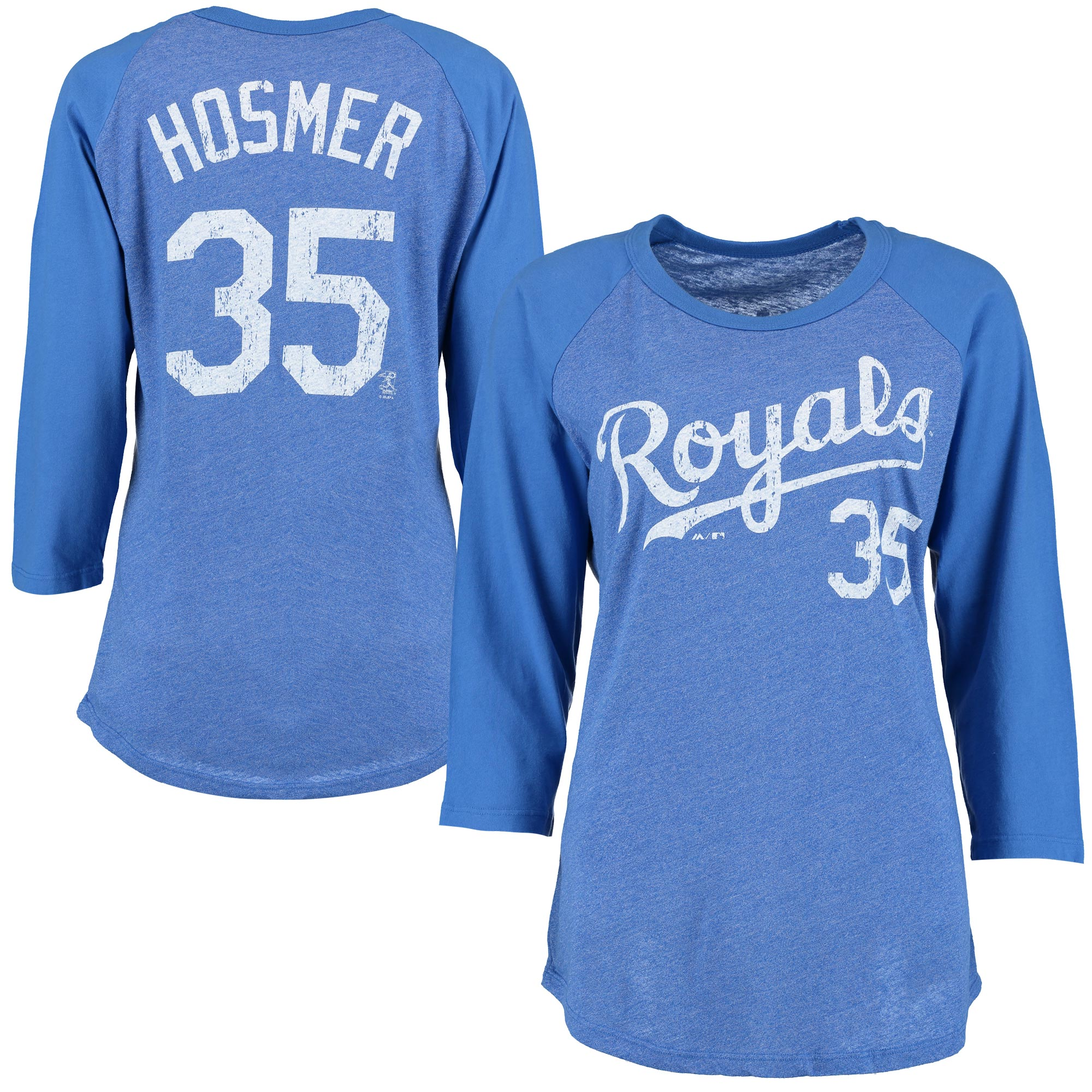 Eric Hosmer Kansas City Royals Majestic Threads Women's Name & Number Three-Quarter Sleeve Raglan T-Shirt - Royal