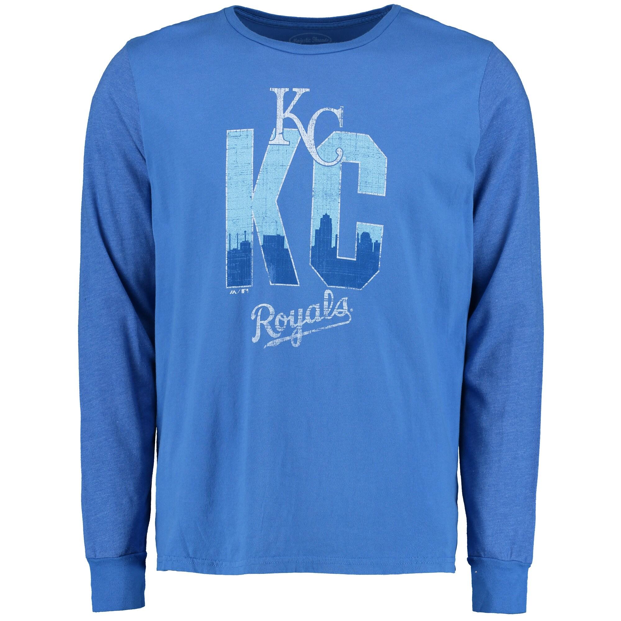 Kansas City Royals Majestic Threads Skyline Tri-Blend Long Sleeve T-Shirt - Royal