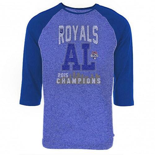 Kansas City Royals Majestic Threads 2015 American League Champions Deep Fly Three-Quarter Sleeve T-Shirt - Royal