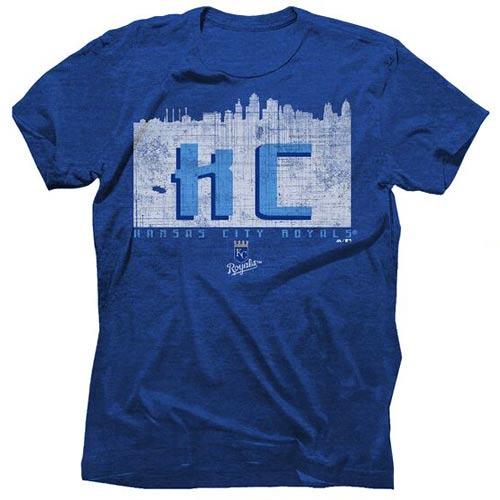 Kansas City Royals Majestic Threads Initial Skyline Premium Tri-Blend T-Shirt - Heathered Royal