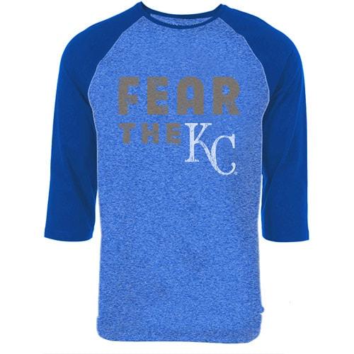 Kansas City Royals Majestic Threads Fear The Team Tri-Blend Three-Quarter Sleeve Raglan T-Shirt - Royal
