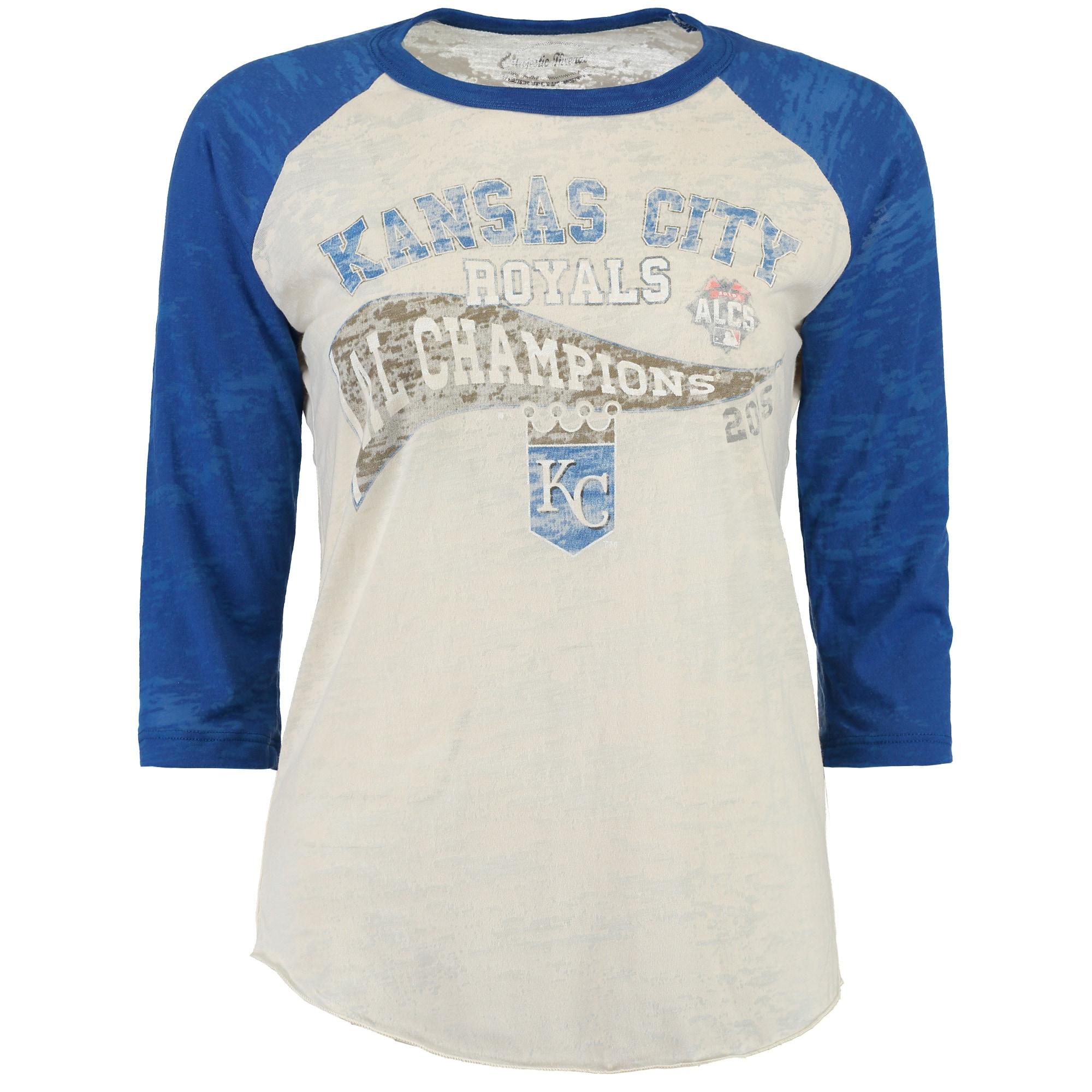 Kansas City Royals Majestic Threads Women's 2015 League Champions Three-Quarter Raglan Sleeve Tri-Blend T-Shirt - Cream/Royal