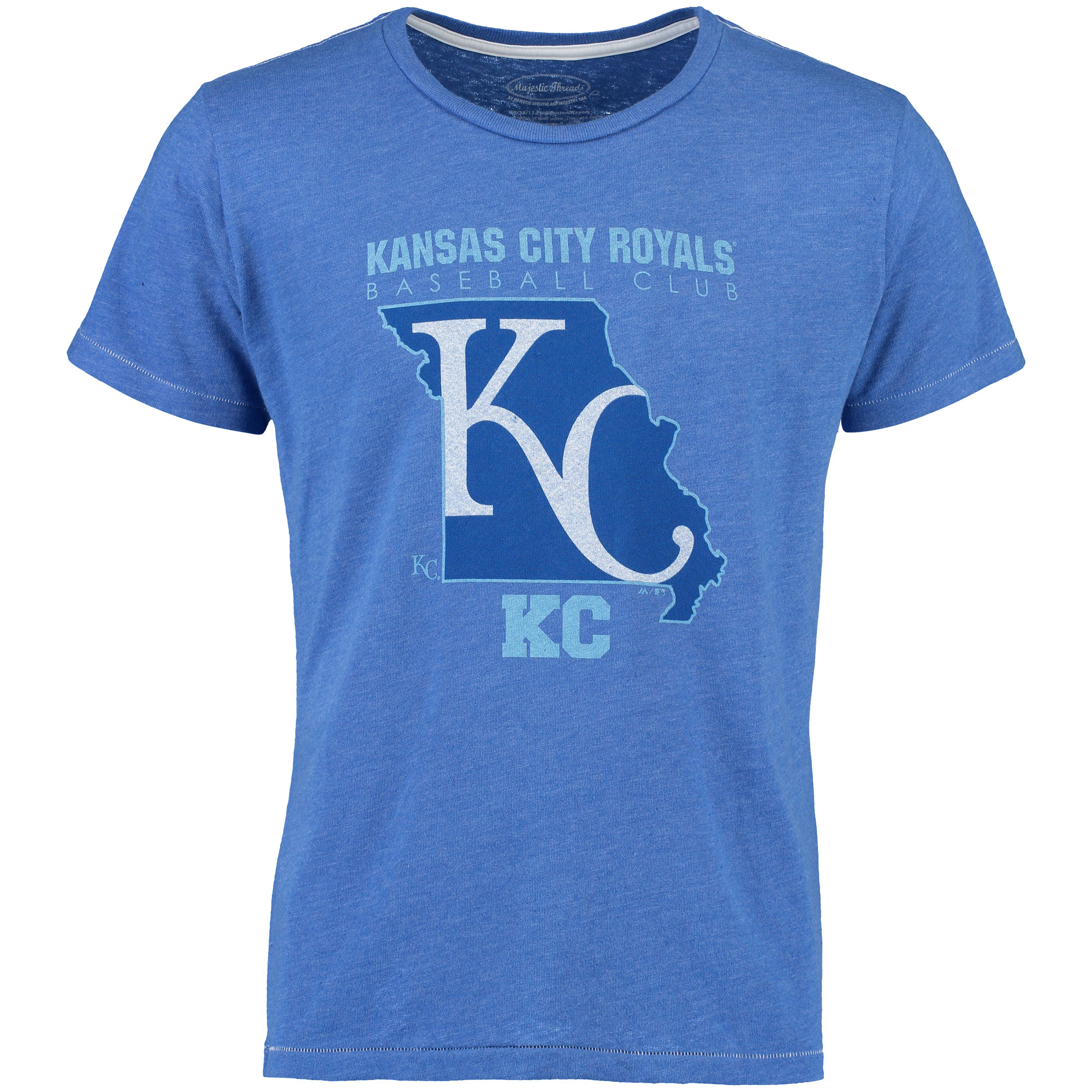 Kansas City Royals Majestic Threads State Sport Tri-Blend Contrast Stitch T-Shirt - Royal