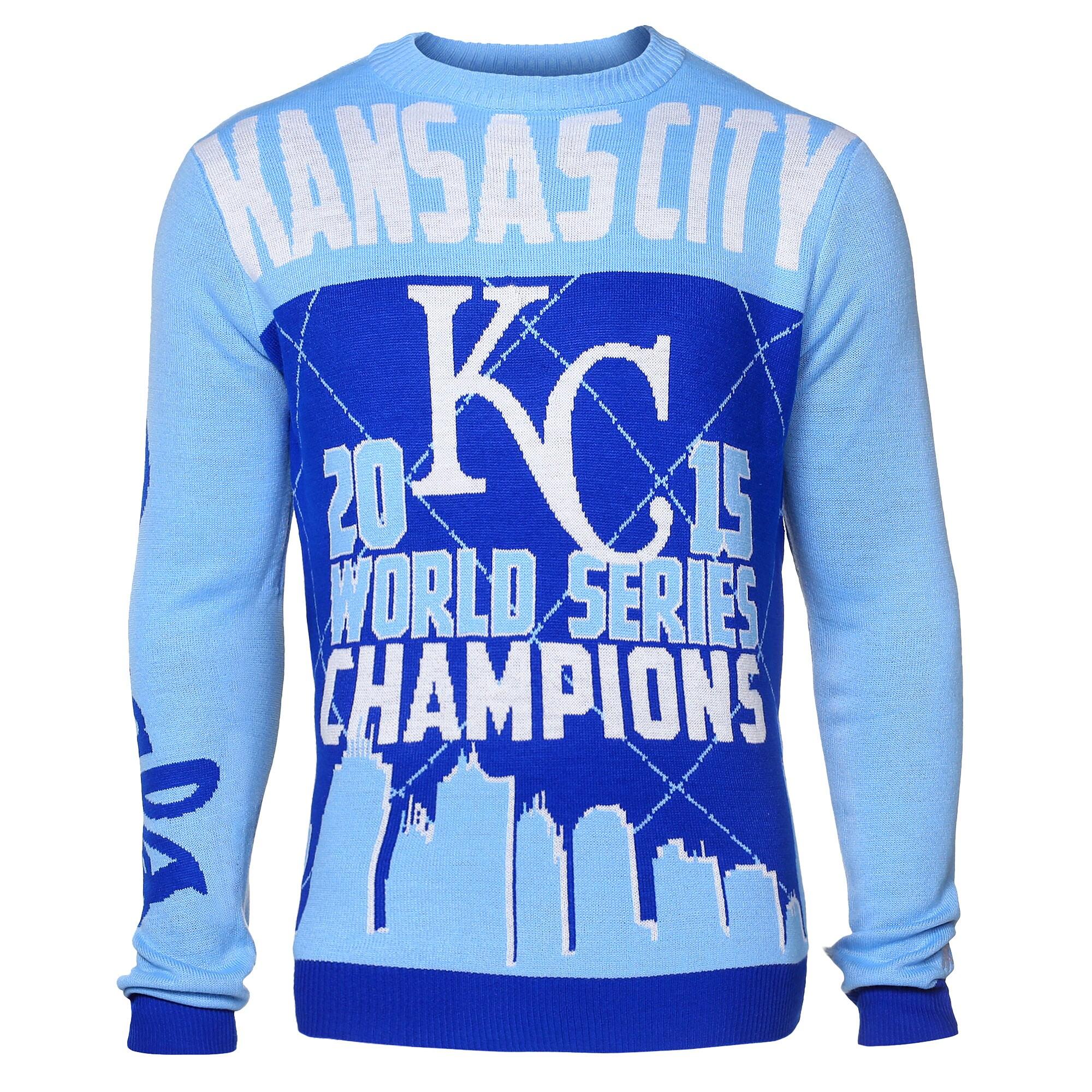 Kansas City Royals Klew 2015 World Series Champions Sweater - Light Blue/Royal