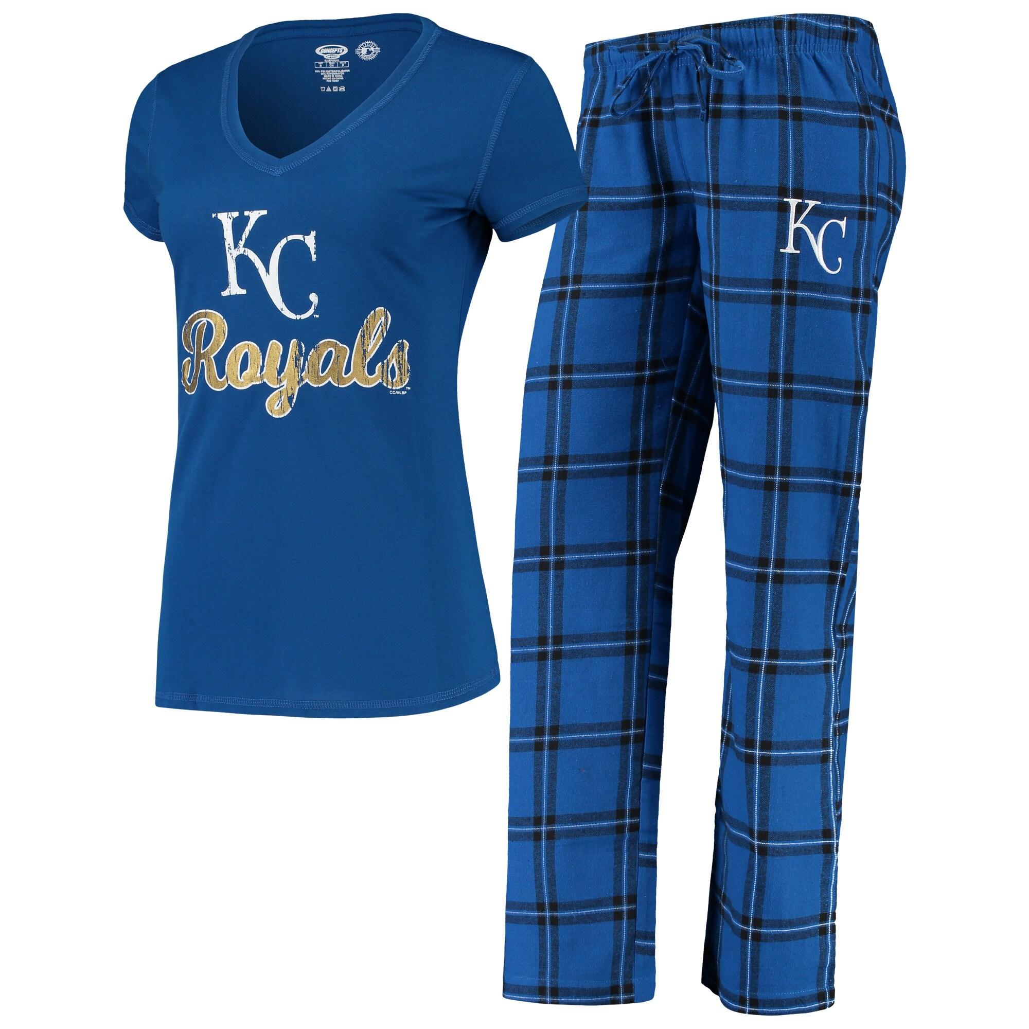 Kansas City Royals Concepts Sport Women's Troupe V-Neck T-Shirt & Pants Sleep Set - Royal/Black