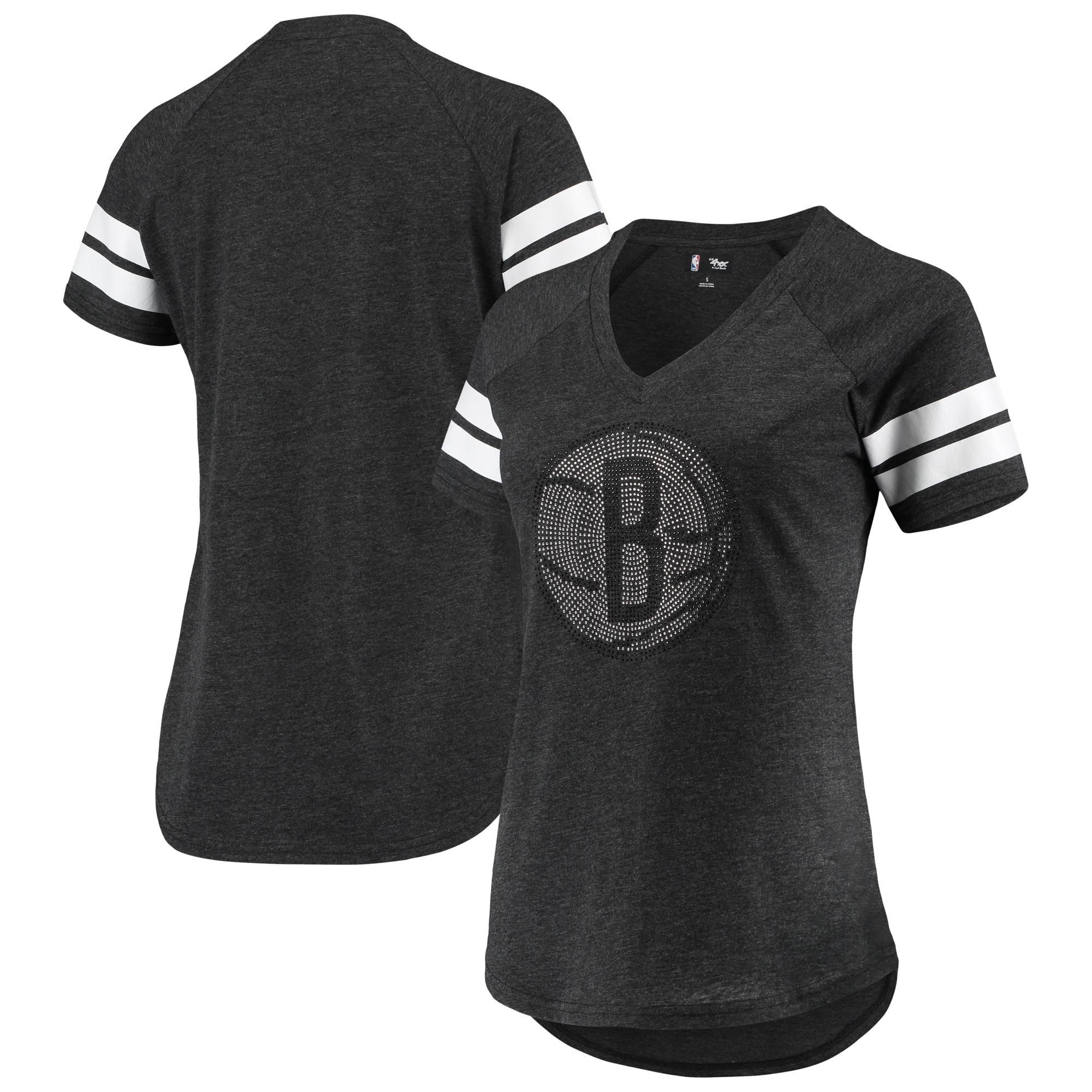Brooklyn Nets G-III 4Her by Carl Banks Women's Triple Double Rhinestone Tri-Blend V-Neck T-Shirt - Black