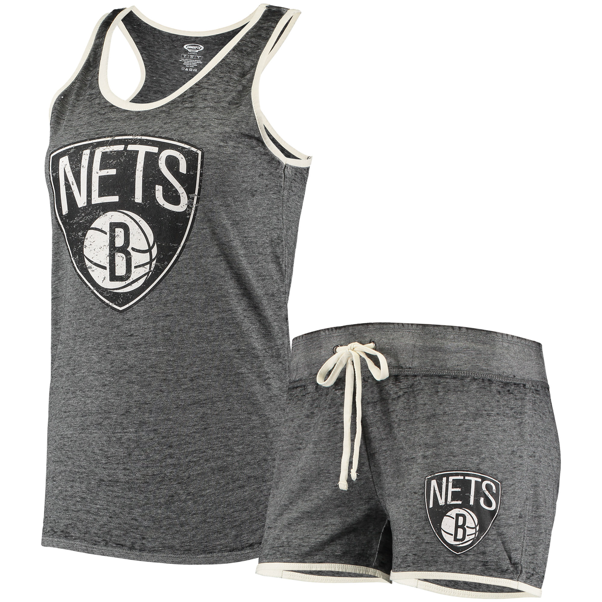 Brooklyn Nets Concepts Sport Women's Loyalty Tank and Shorts Sleep Set - Heathered Charcoal