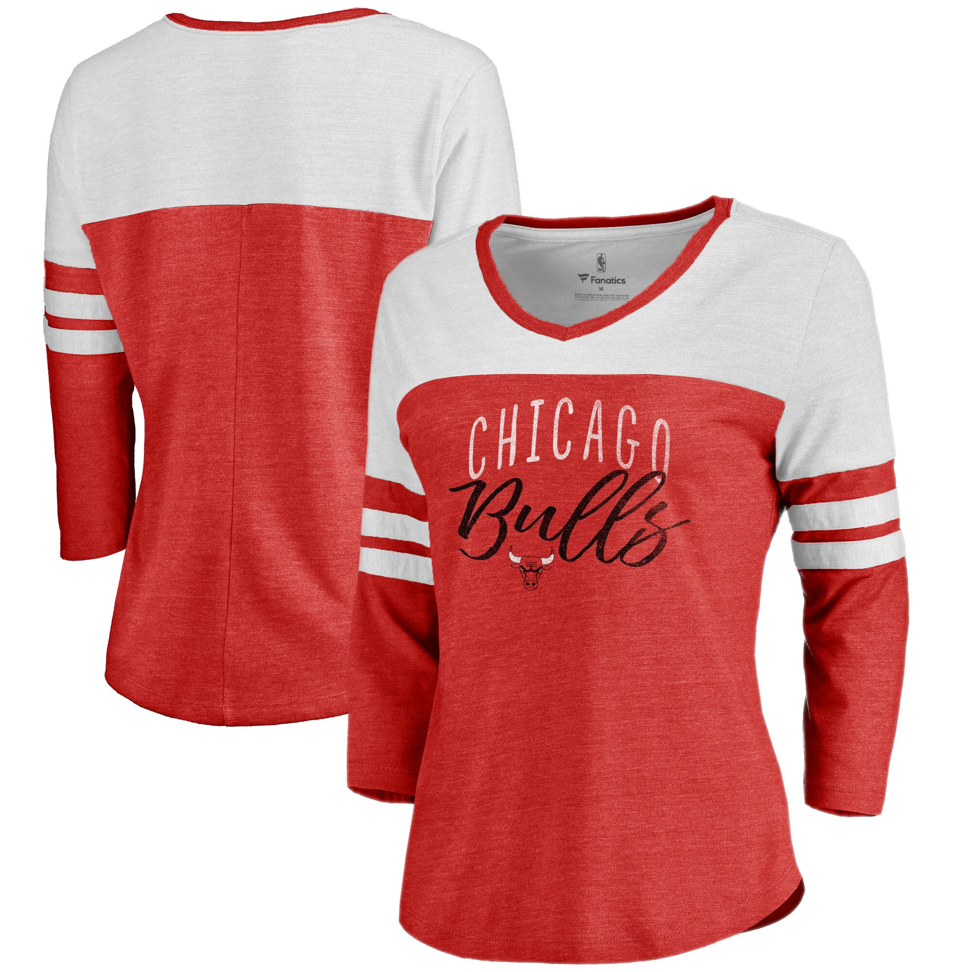 Chicago Bulls Fanatics Branded Women's Graceful 3/4-Sleeve Raglan T-Shirt - Heathered Red