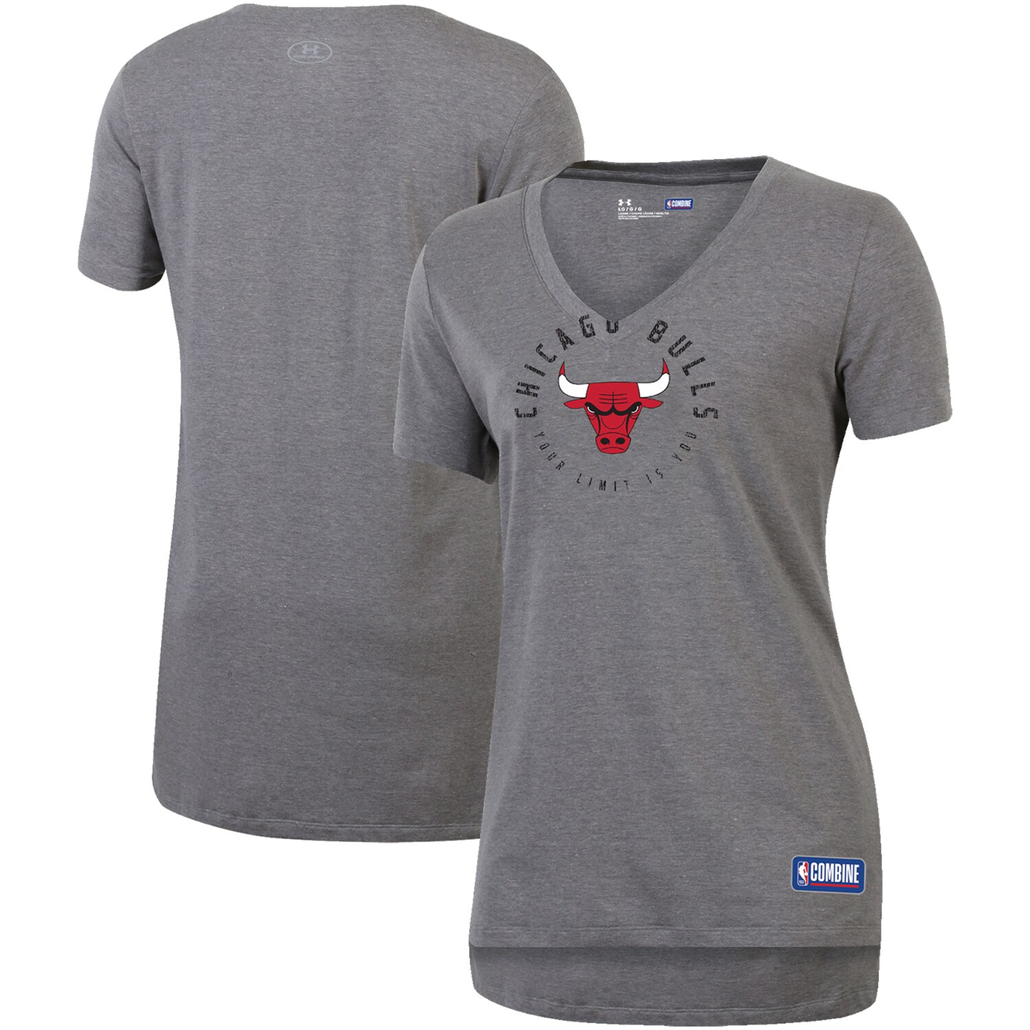 Chicago Bulls Under Armour Women's Combine Authentic Your Limit Is You V-Neck T-Shirt - Heathered Gray