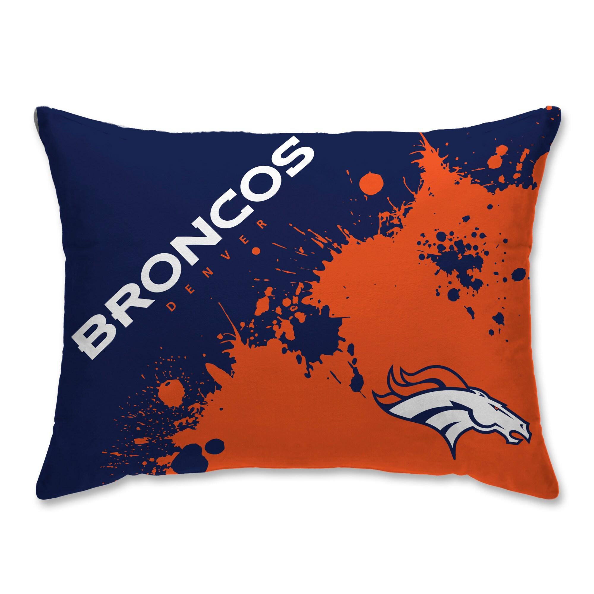 Denver Broncos Splatter Plush Bed Pillow - Blue