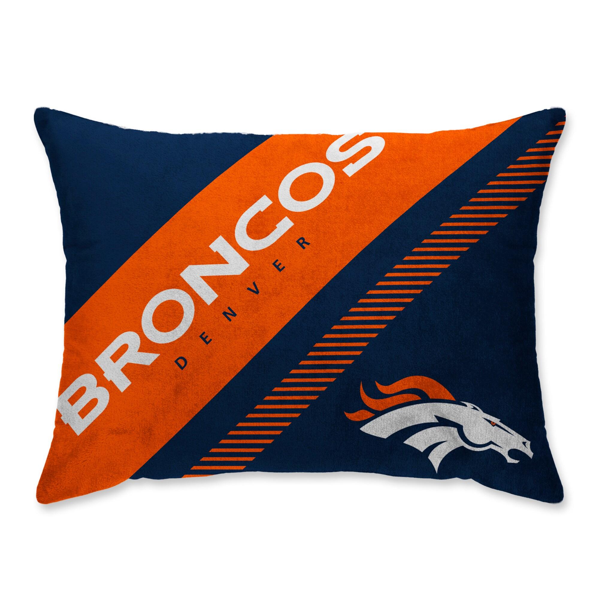 Denver Broncos Super Plush Mink Diagonal Bed Pillow - Blue