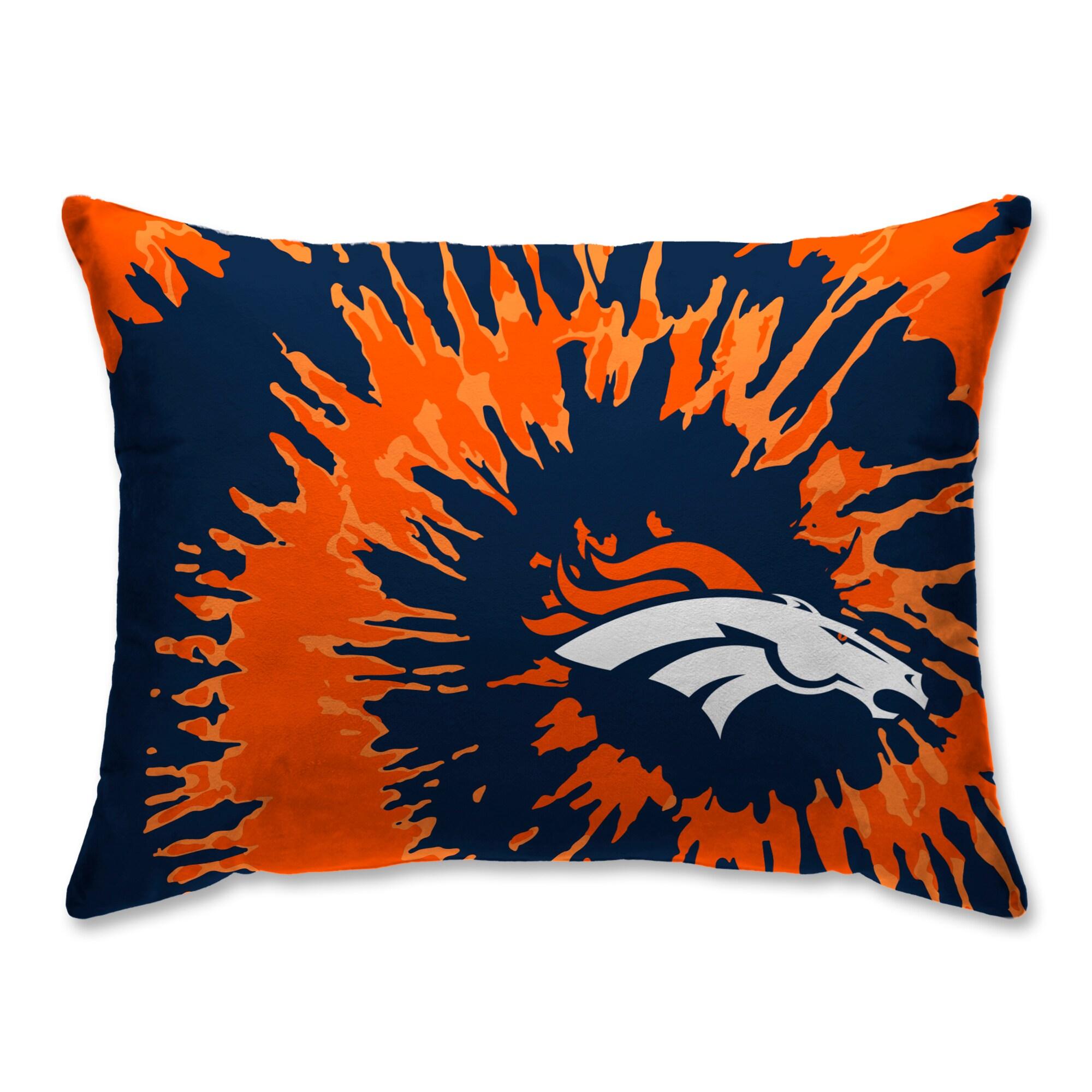 Denver Broncos Tie Dye Plush Bed Pillow - Blue