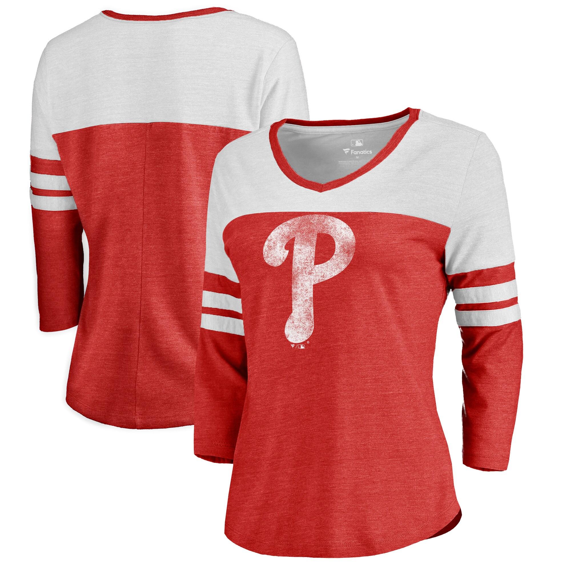 Philadelphia Phillies Fanatics Branded Women's Distressed Team Logo 3/4 Sleeve Tri-Blend T-Shirt - Red/White