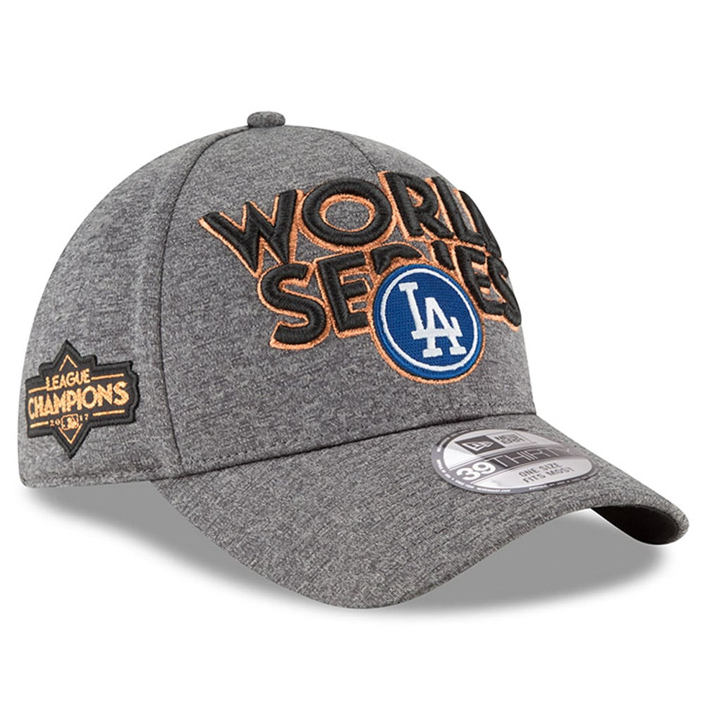 Los Angeles Dodgers New Era 2017 National League Champions Locker Room 39THIRTY Flex Hat - Heather Gray