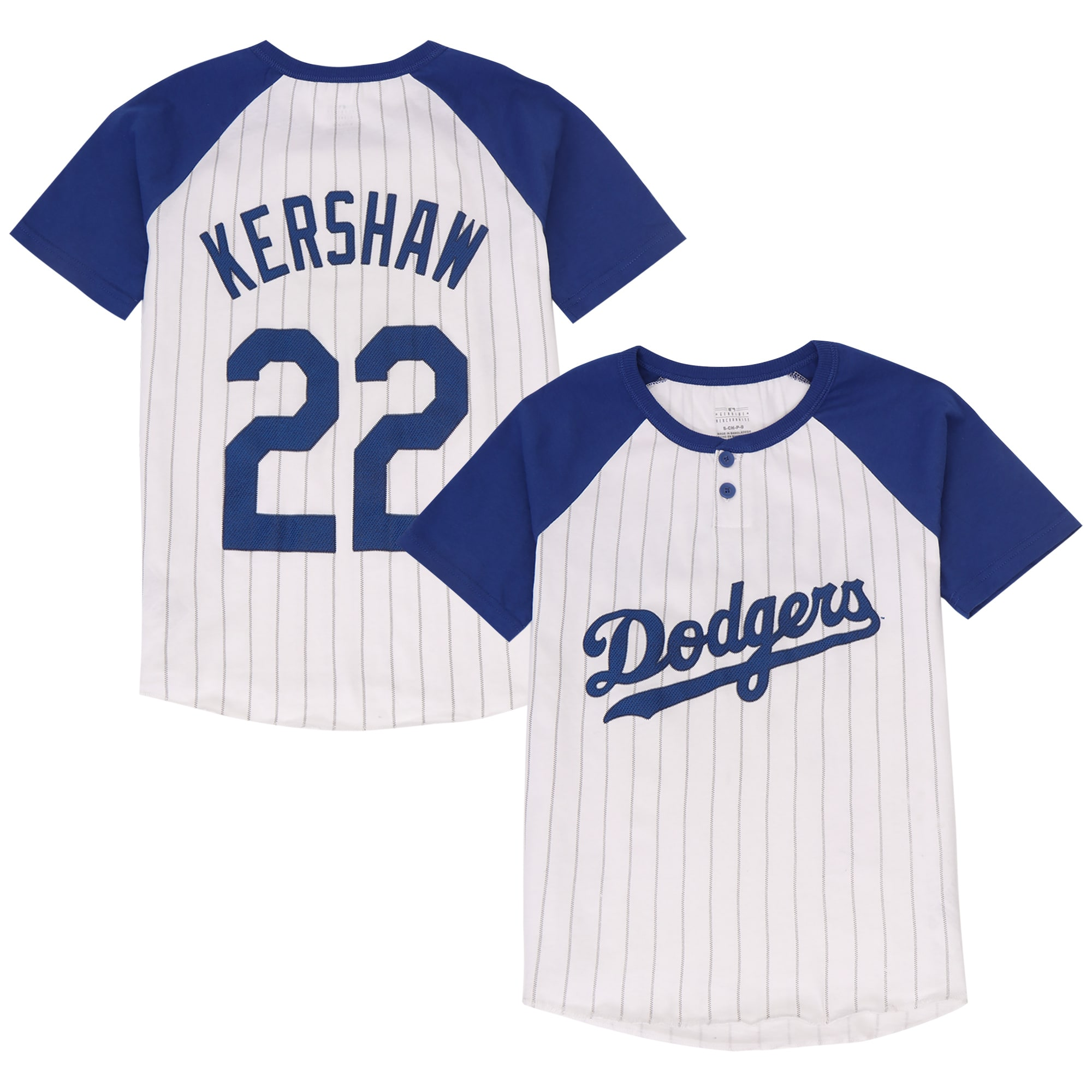 Clayton Kershaw Los Angeles Dodgers Majestic Youth Game Day Pinstripe Name & Number Henley T-Shirt - White/Royal