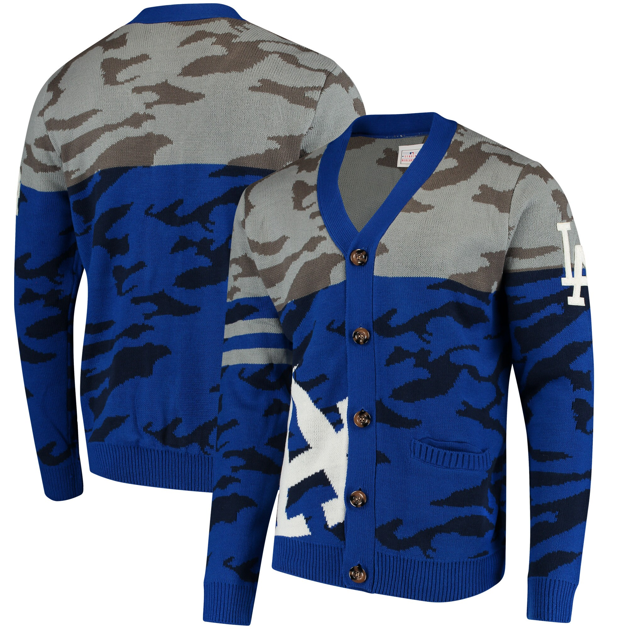Los Angeles Dodgers Camouflage Cardigan Sweater - Royal
