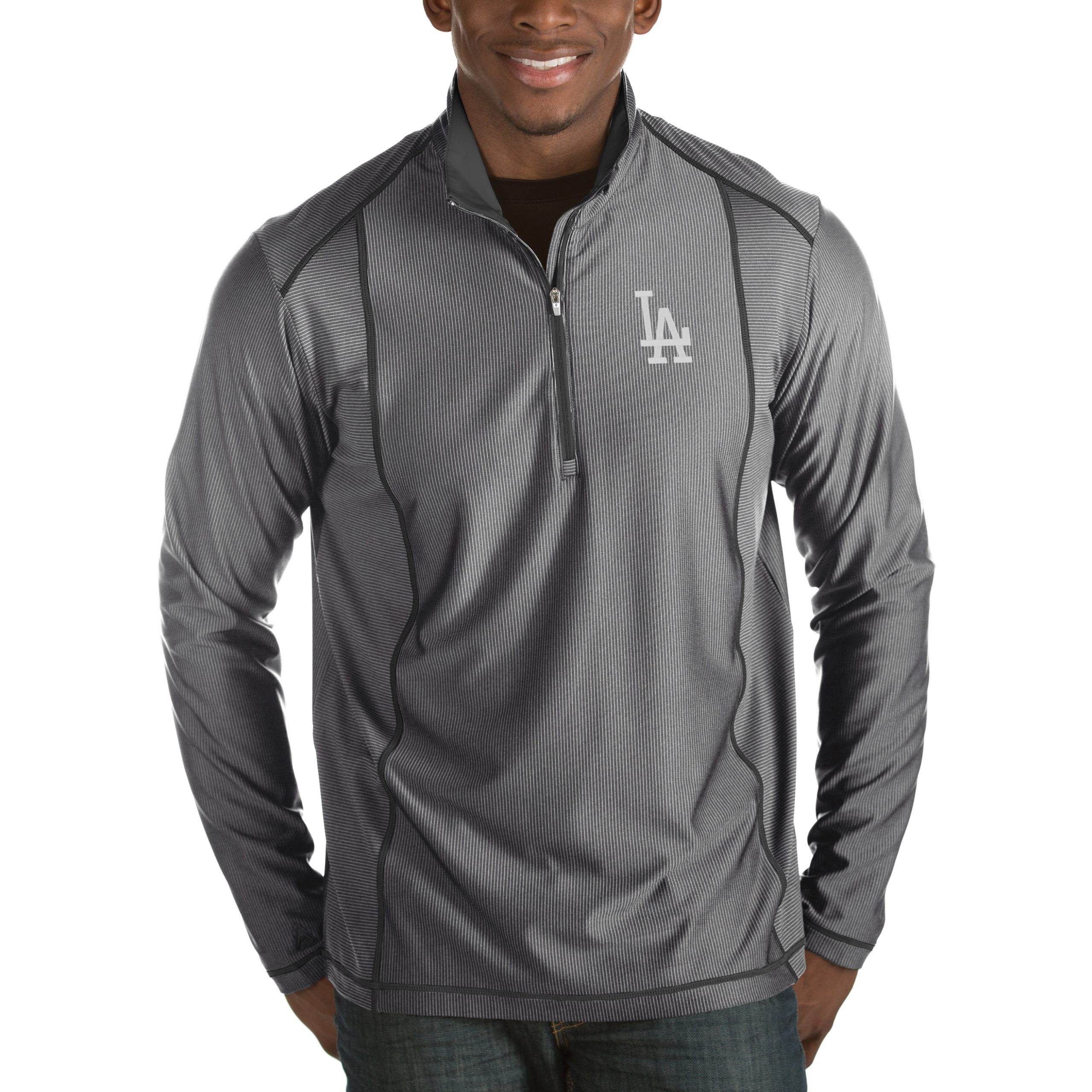 Los Angeles Dodgers Antigua Tempo Half-Zip Pullover Jacket - Heathered Charcoal