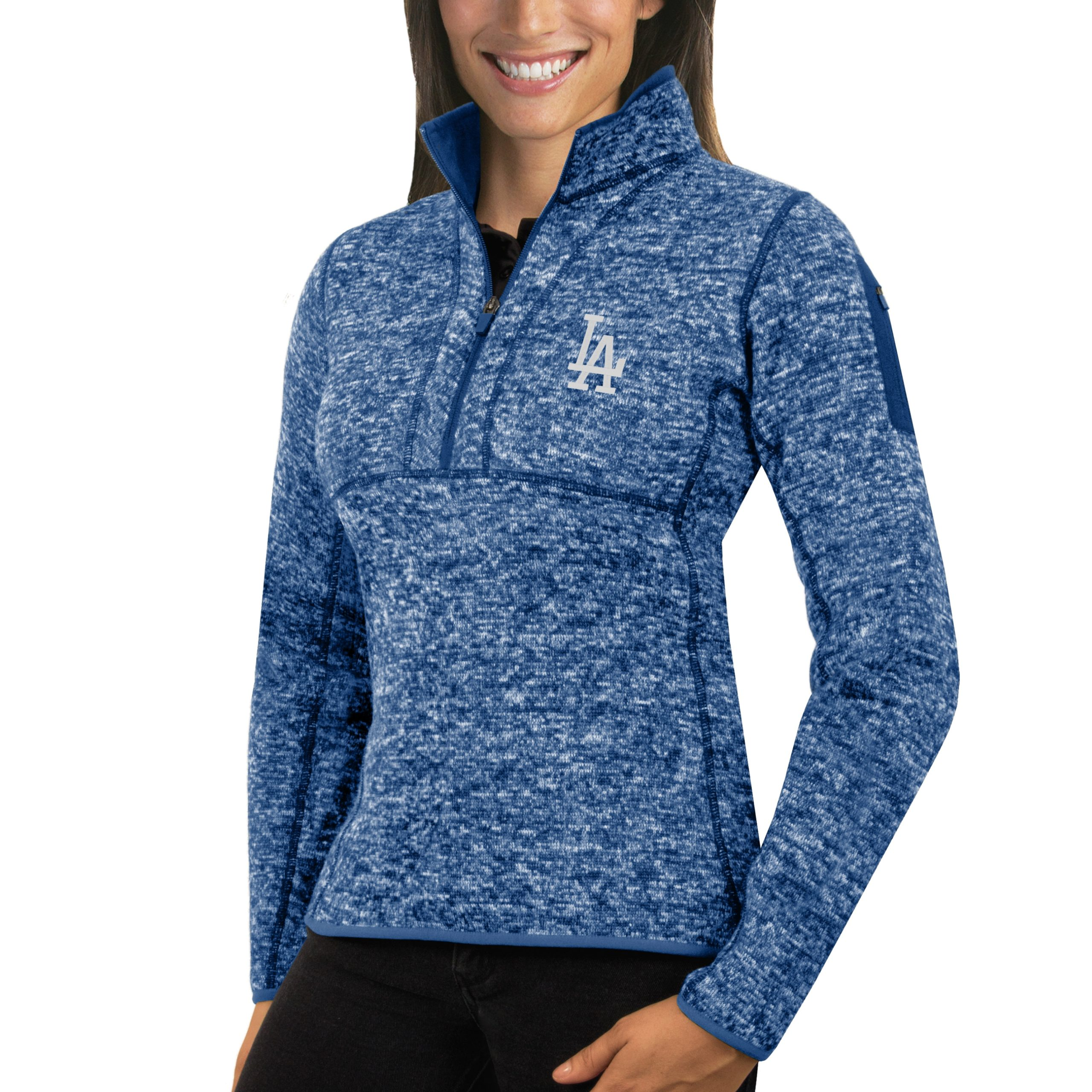 Los Angeles Dodgers Antigua Women's Fortune Half-Zip Pullover Sweater - Heathered Royal
