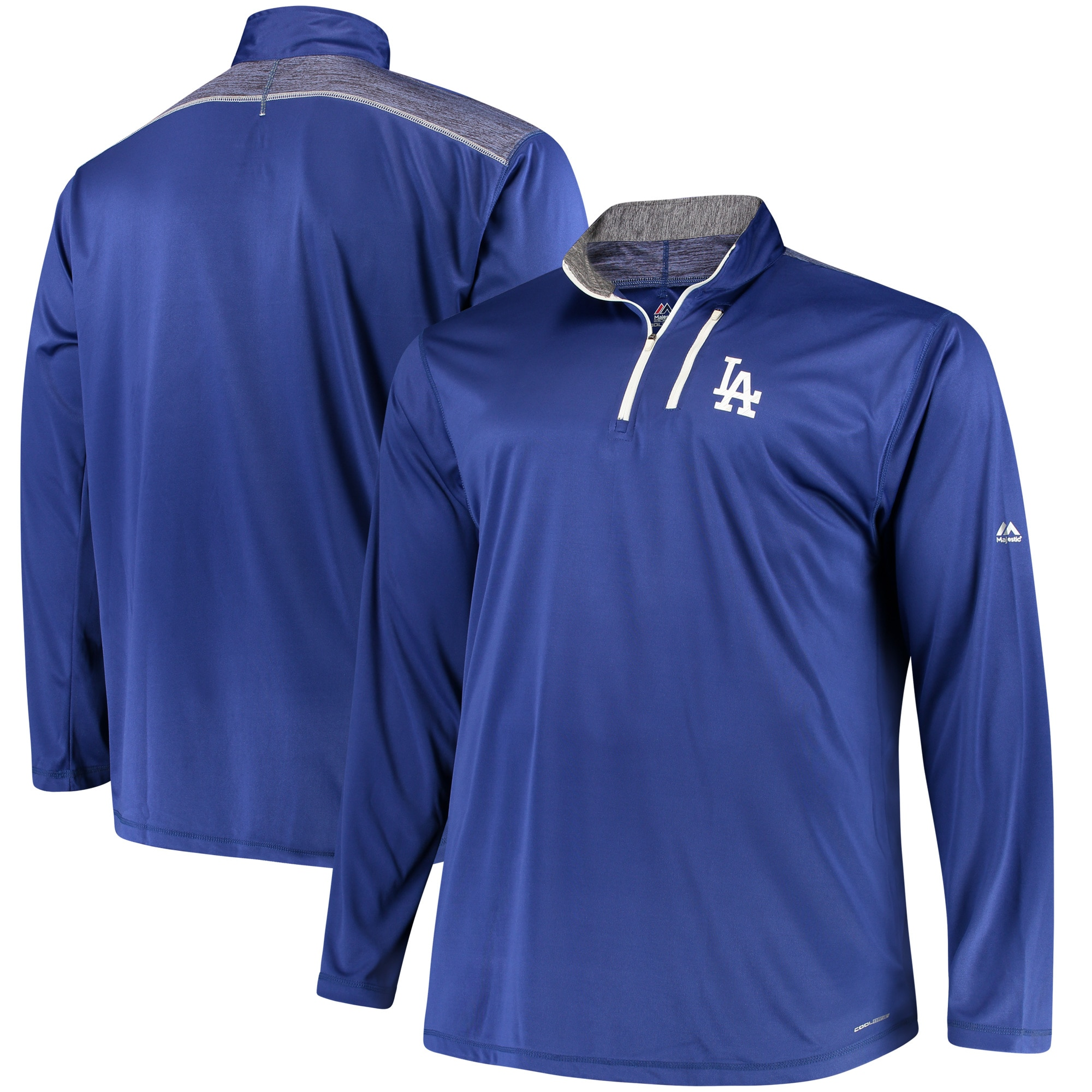 Los Angeles Dodgers Majestic Big & Tall 643 Half-Zip Pullover Jacket - Royal