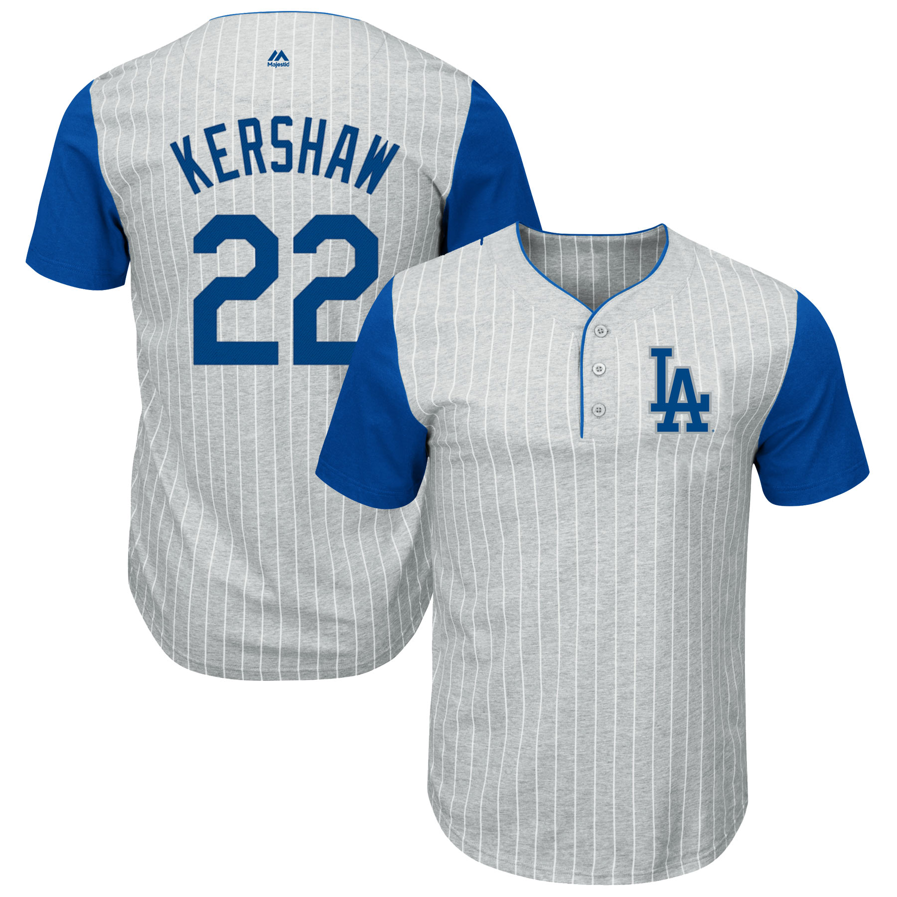 Clayton Kershaw Los Angeles Dodgers Majestic Big & Tall Pinstripe Player T-Shirt - Gray/Royal