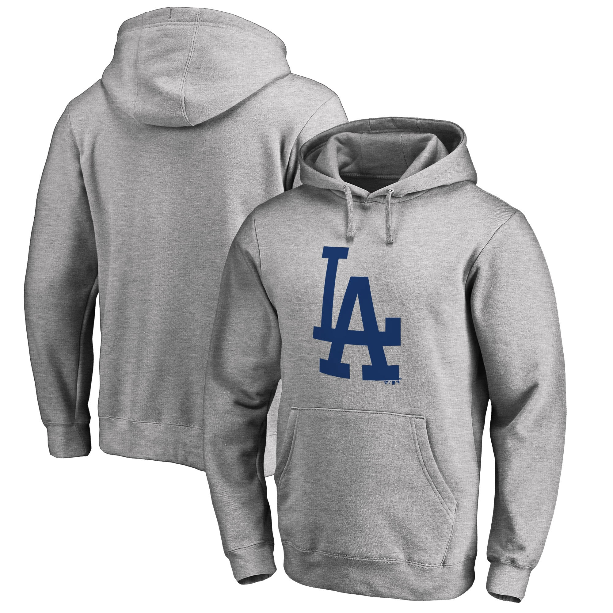 Los Angeles Dodgers Fanatics Branded Primary Logo Pullover Hoodie - Heathered Gray
