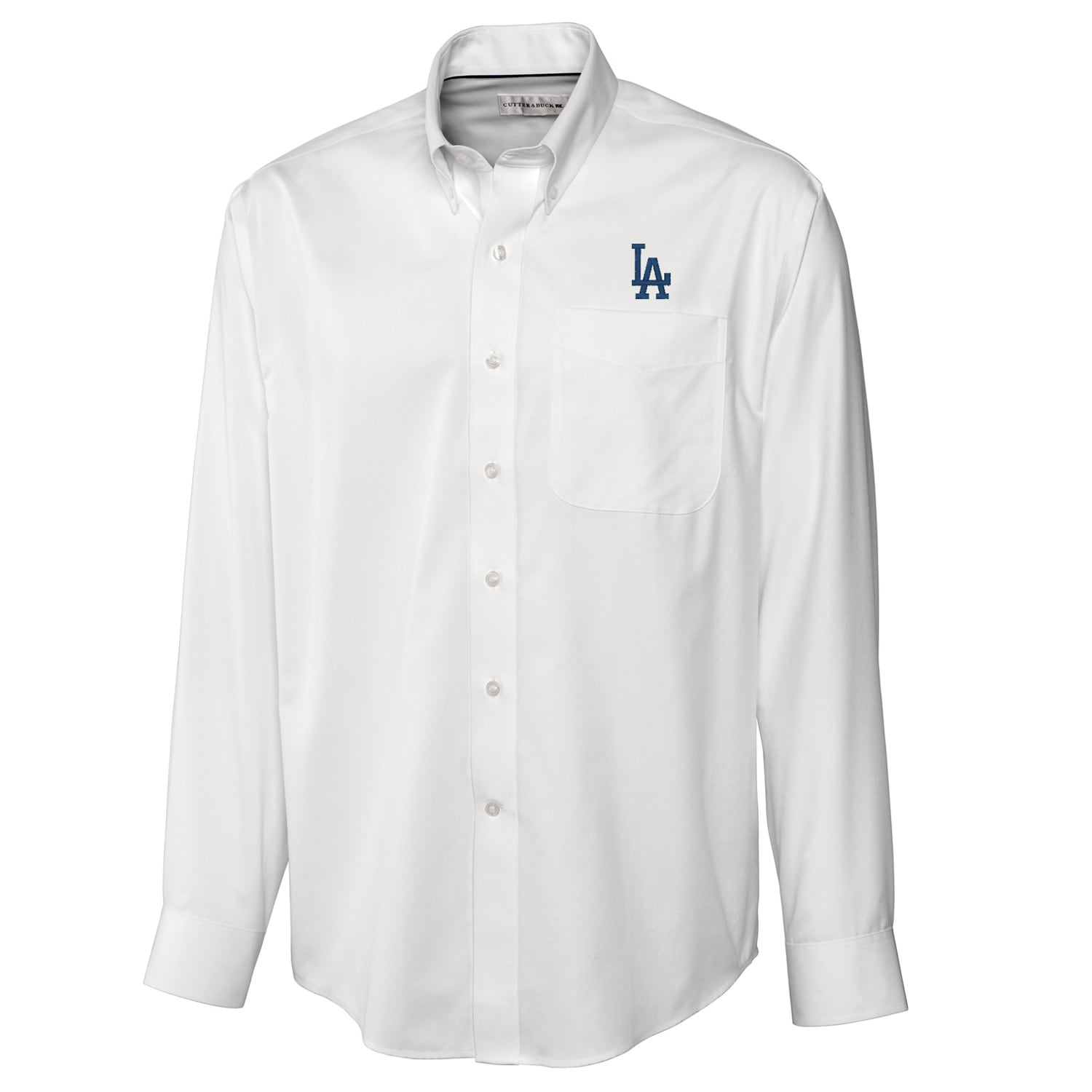Los Angeles Dodgers Cutter & Buck Big & Tall Epic Easy Care Fine Twill Long Sleeve Shirt - White