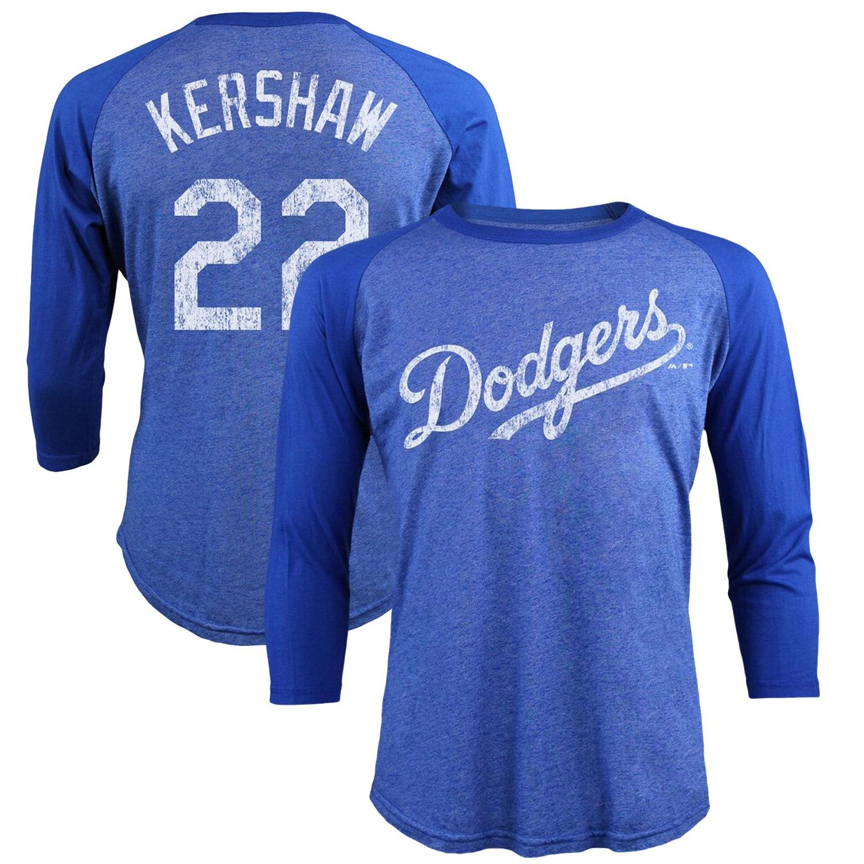 Clayton Kershaw Los Angeles Dodgers Majestic Threads Tri-Blend 3/4-Sleeve Raglan Name & Number T-Shirt - Royal