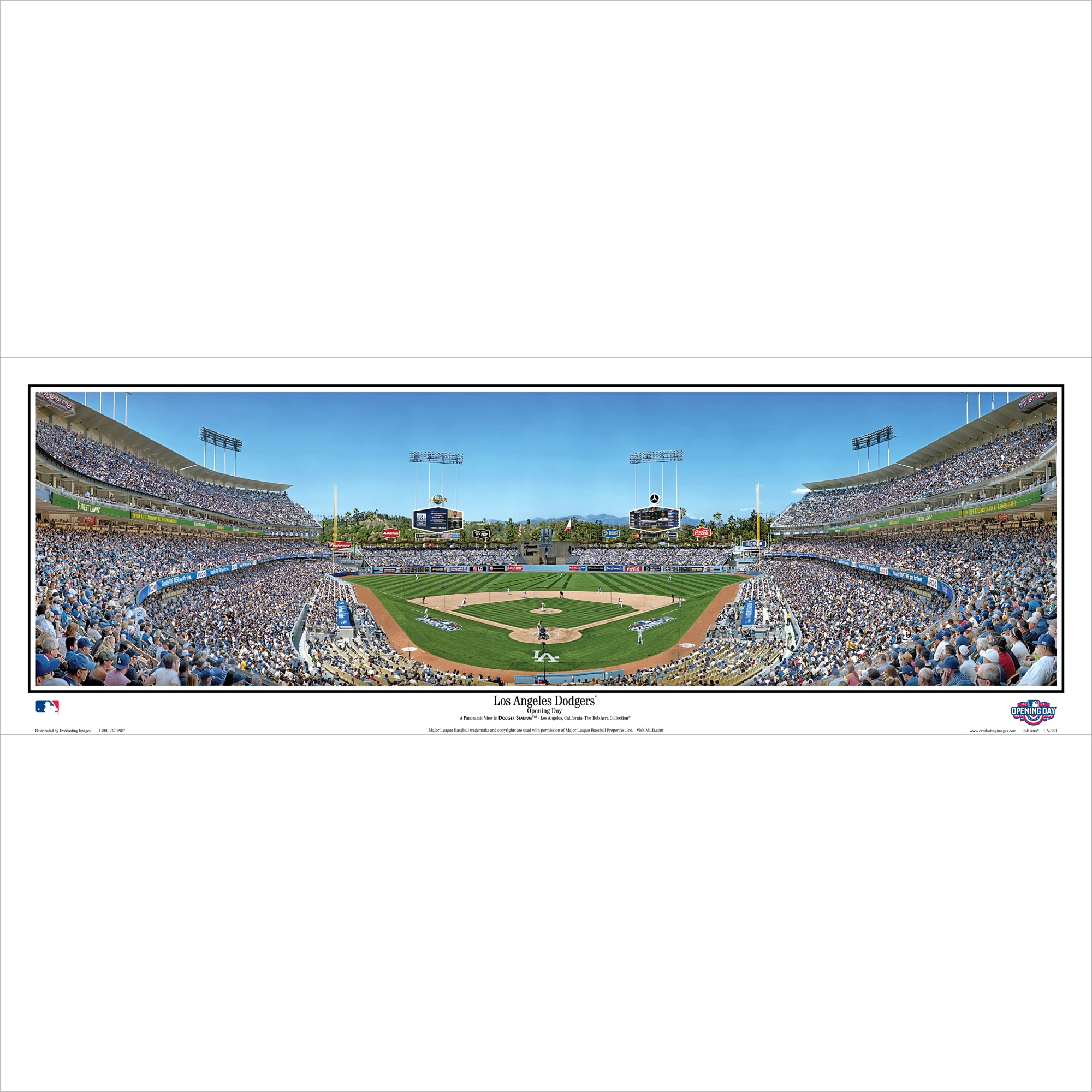 """Los Angeles Dodgers 39"""" x 13.5"""" Opening Day Standard Black Framed Panoramic"""