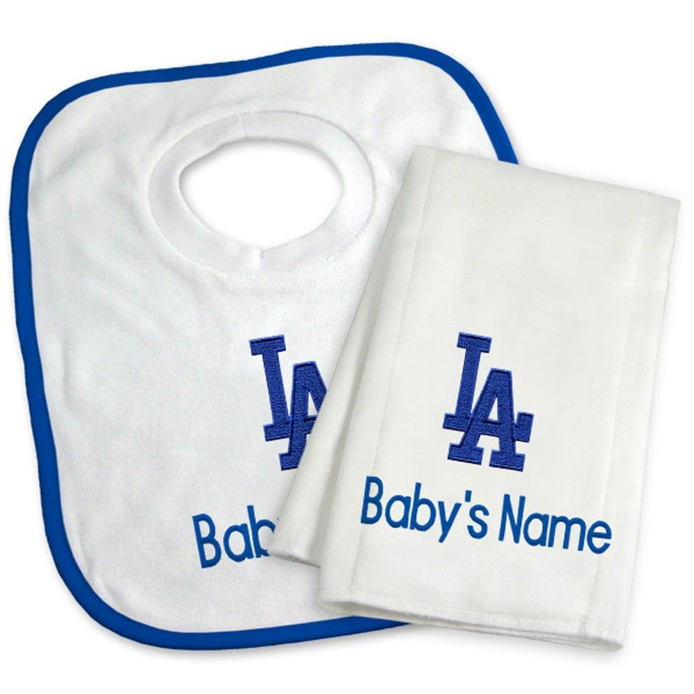 Los Angeles Dodgers Newborn & Infant Personalized Bib & Burp Cloth Set - White