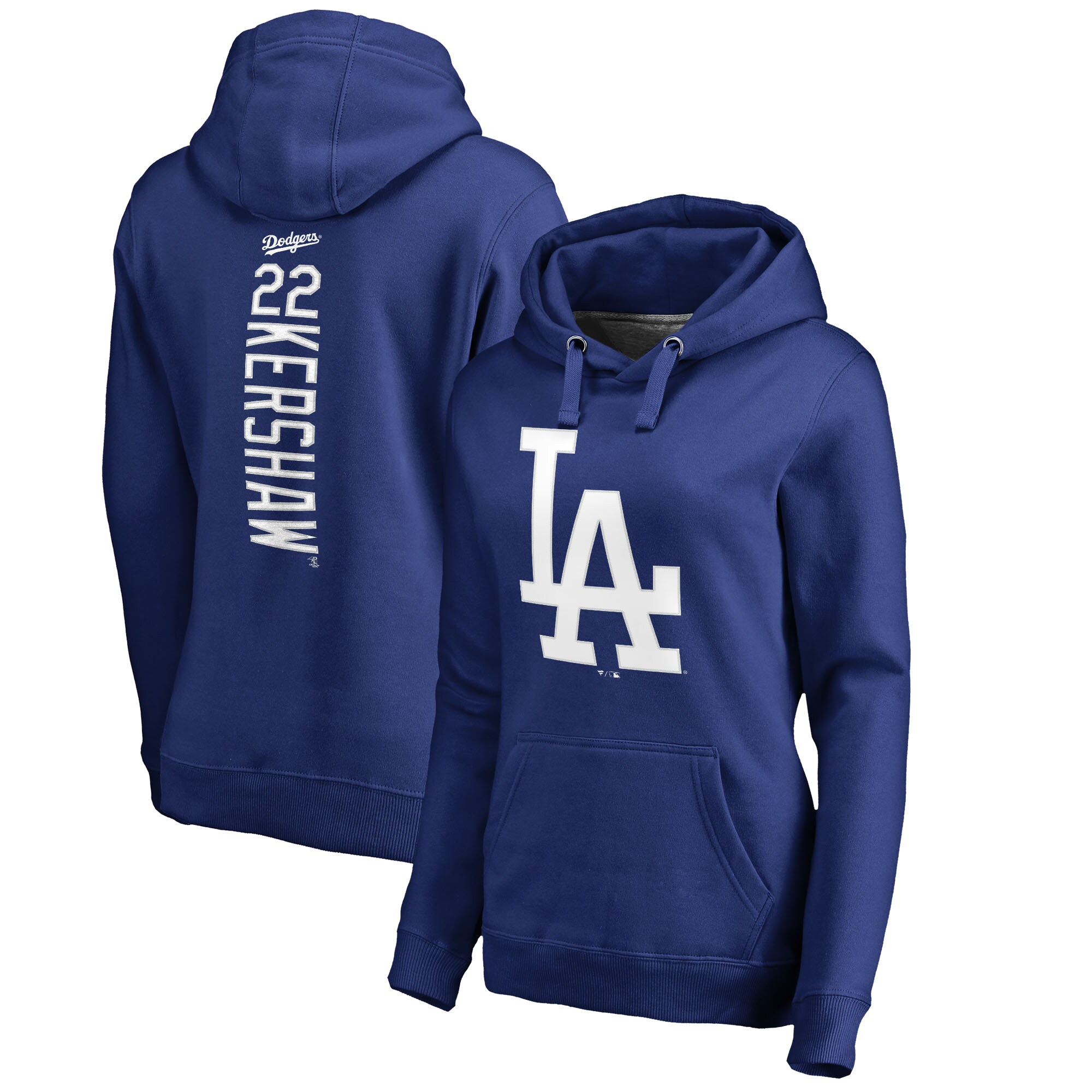 Clayton Kershaw Los Angeles Dodgers Fanatics Branded Women's Backer Pullover Hoodie - Royal