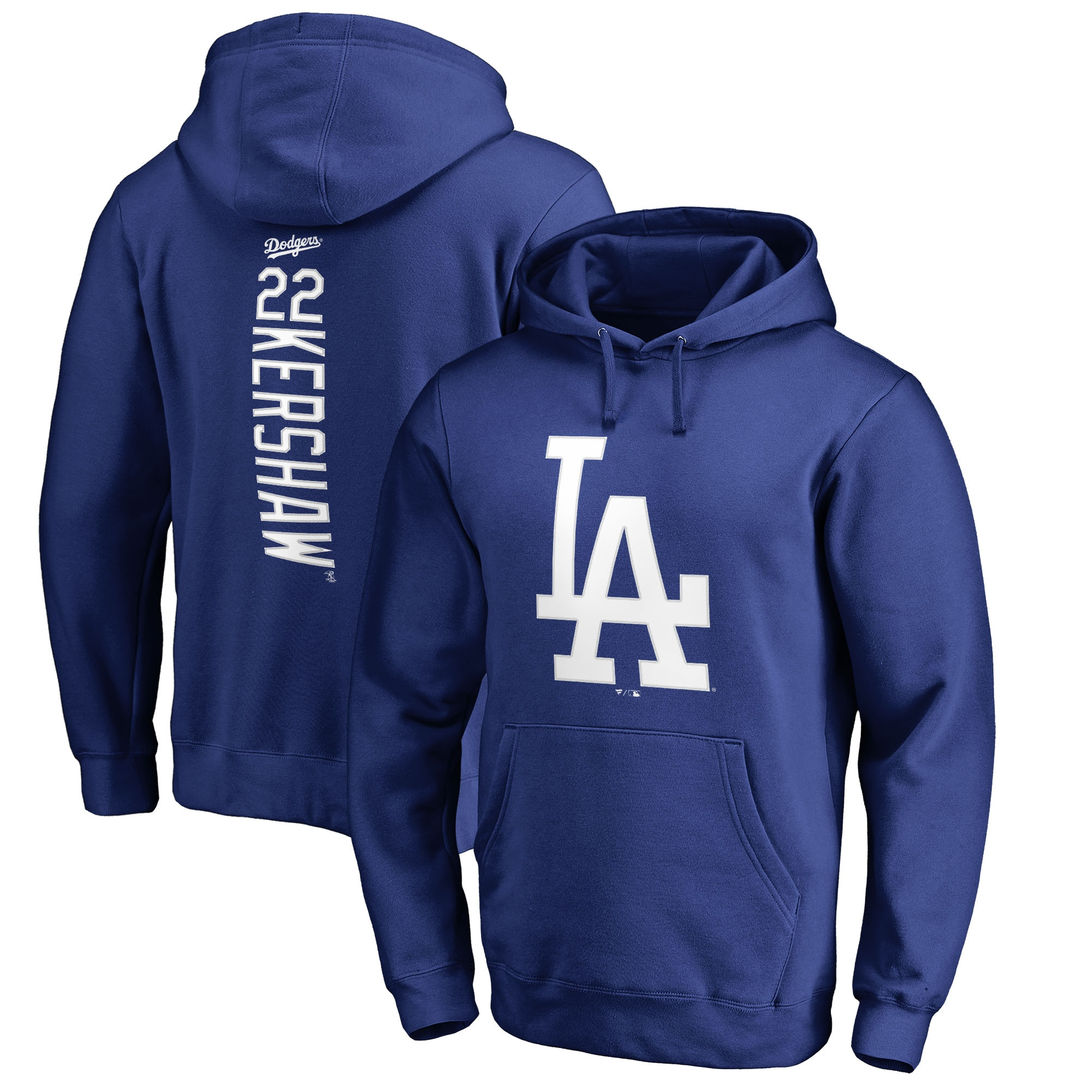 Clayton Kershaw Los Angeles Dodgers Fanatics Branded Backer Pullover Hoodie - Royal