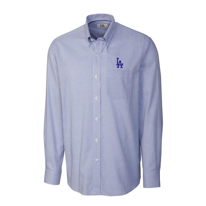 Los Angeles Dodgers Cutter & Buck Tattersall Woven Long Sleeve Button-Down Shirt - Royal