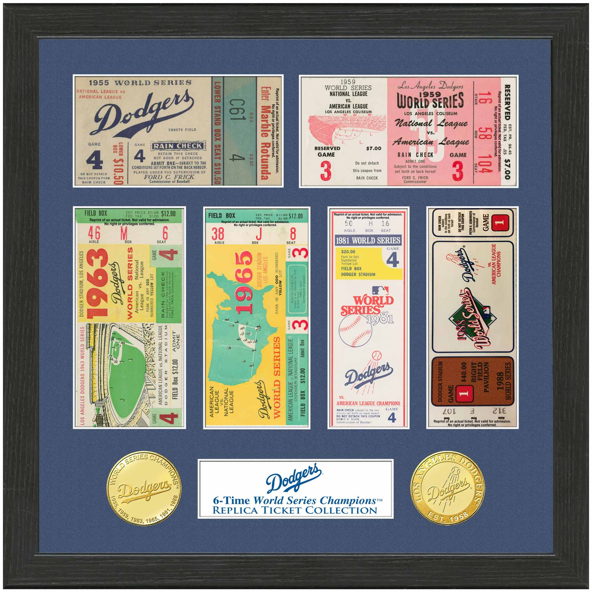 """Los Angeles Dodgers Highland Mint 13"""" x 13"""" World Series Ticket Collection"""