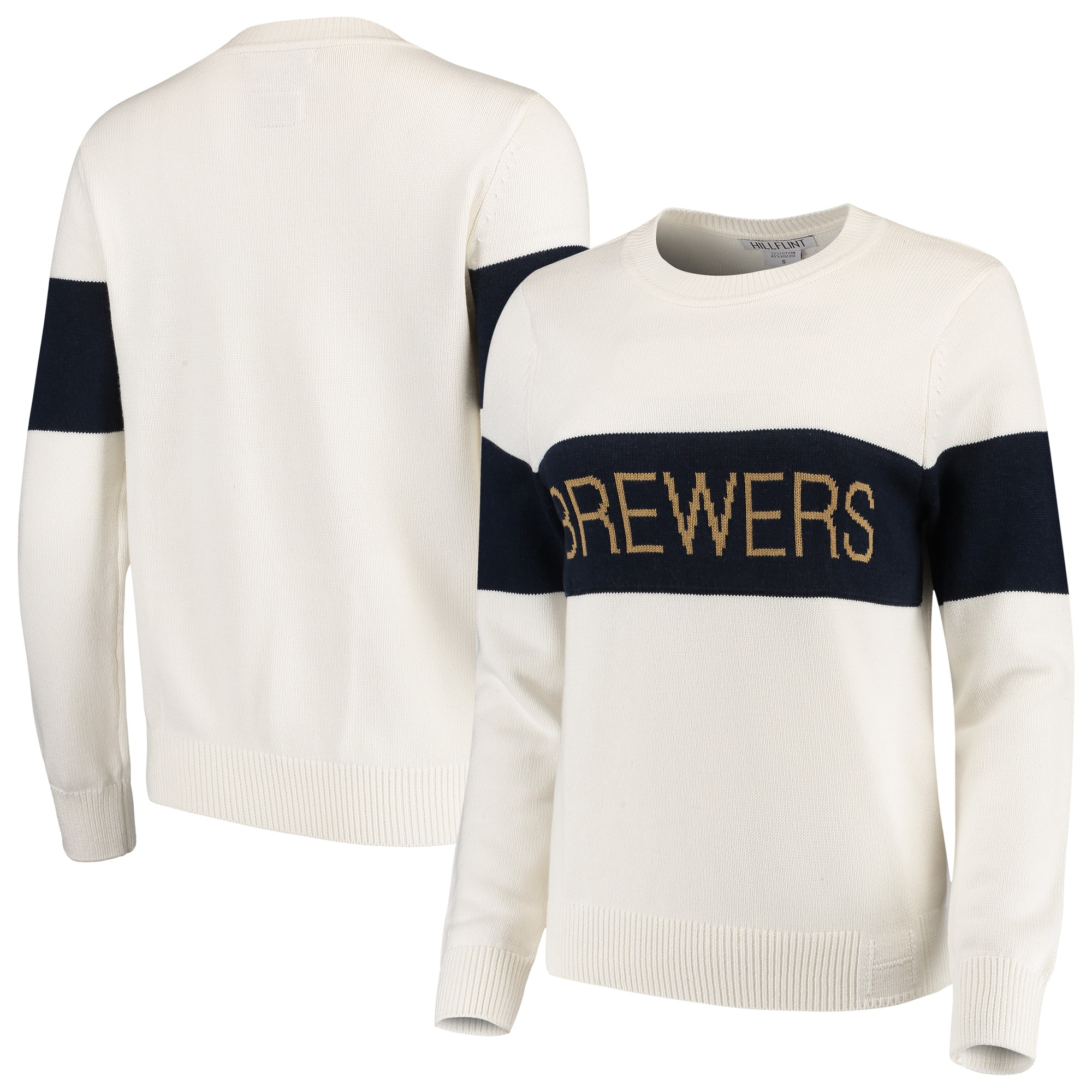 Milwaukee Brewers Women's Retro Stripe Pullover Sweater - Cream