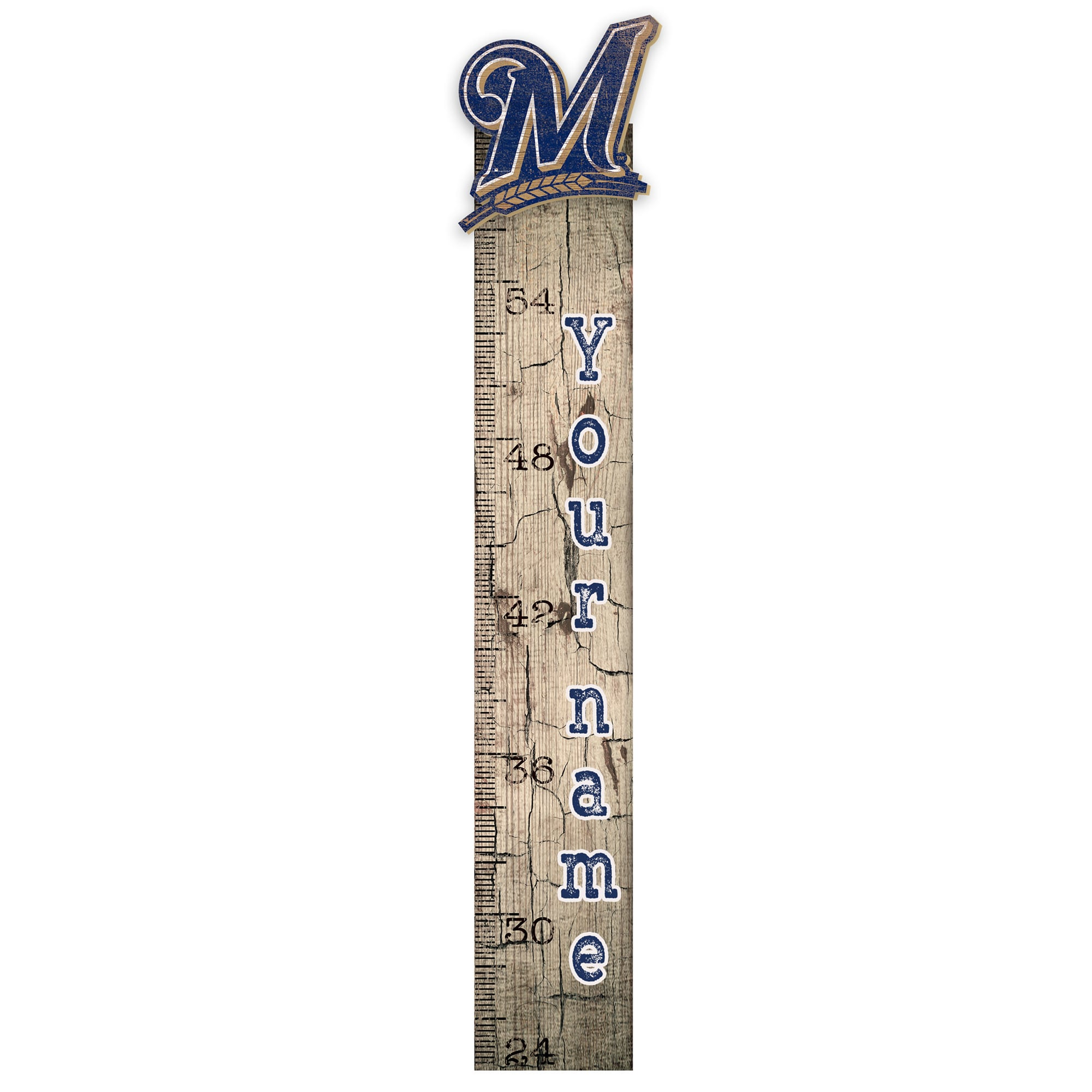 """Milwaukee Brewers 6"""" x 36"""" Personalized Growth Chart Sign"""