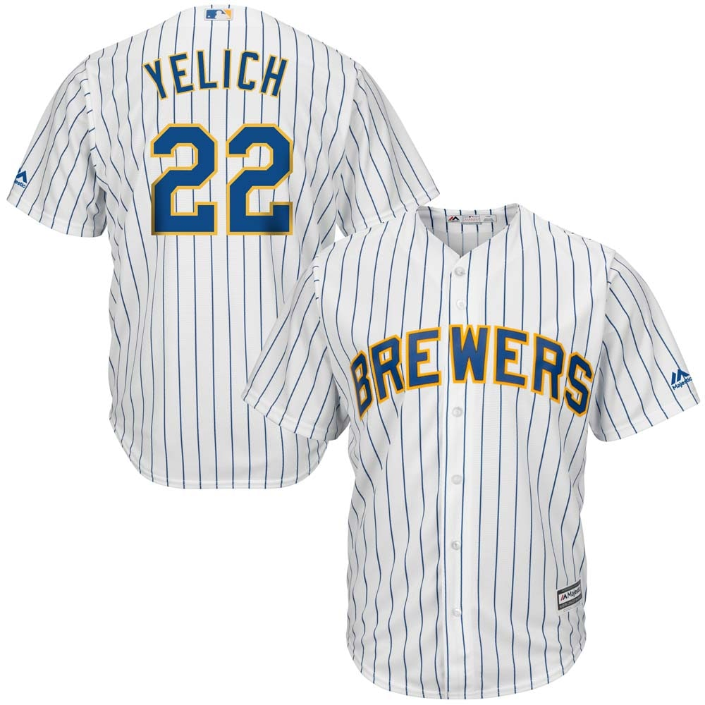 Christian Yelich Milwaukee Brewers Majestic Alternate Official Cool Base Player Jersey - White/Royal