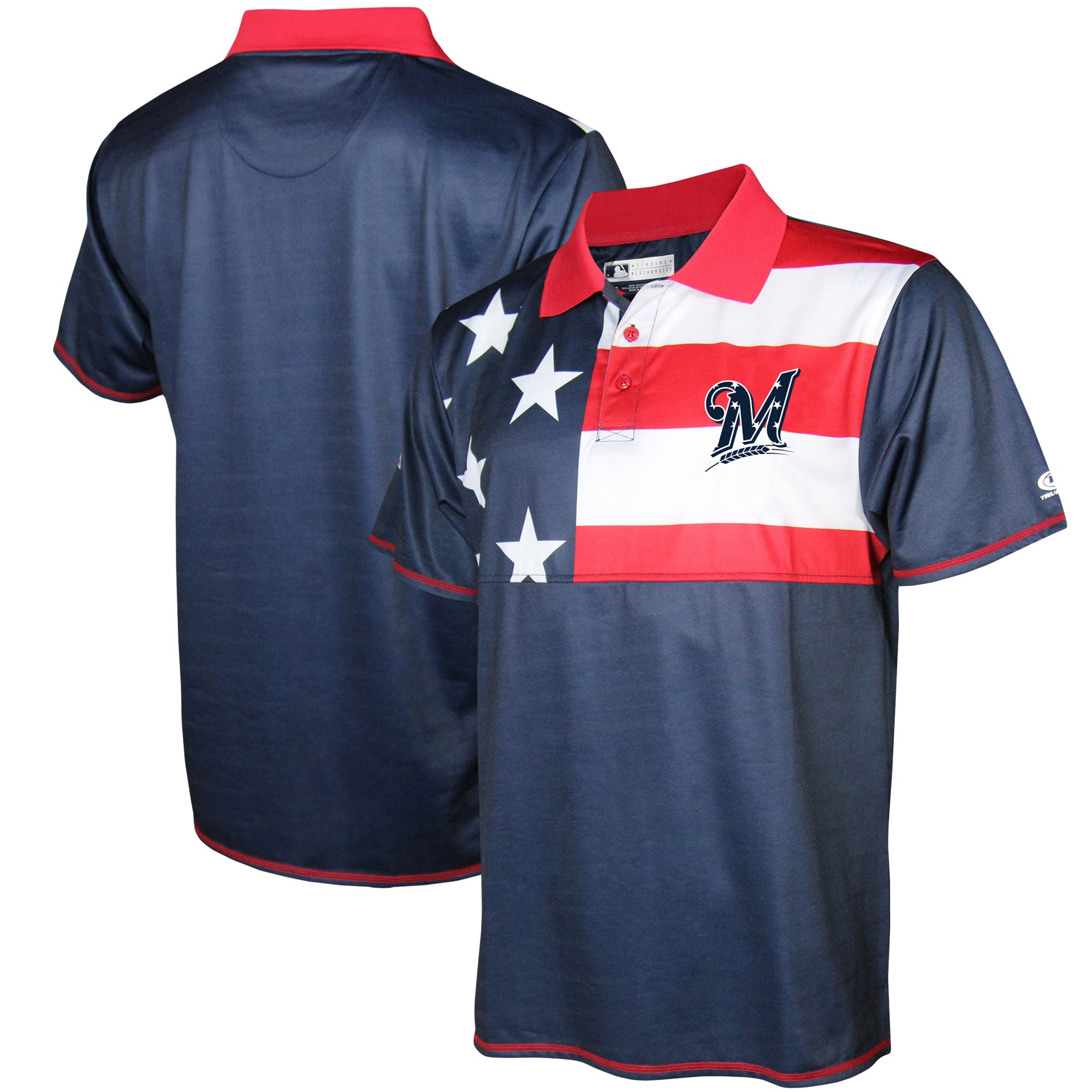 Milwaukee Brewers Stitches Stars & Stripe Polo - Navy/Red