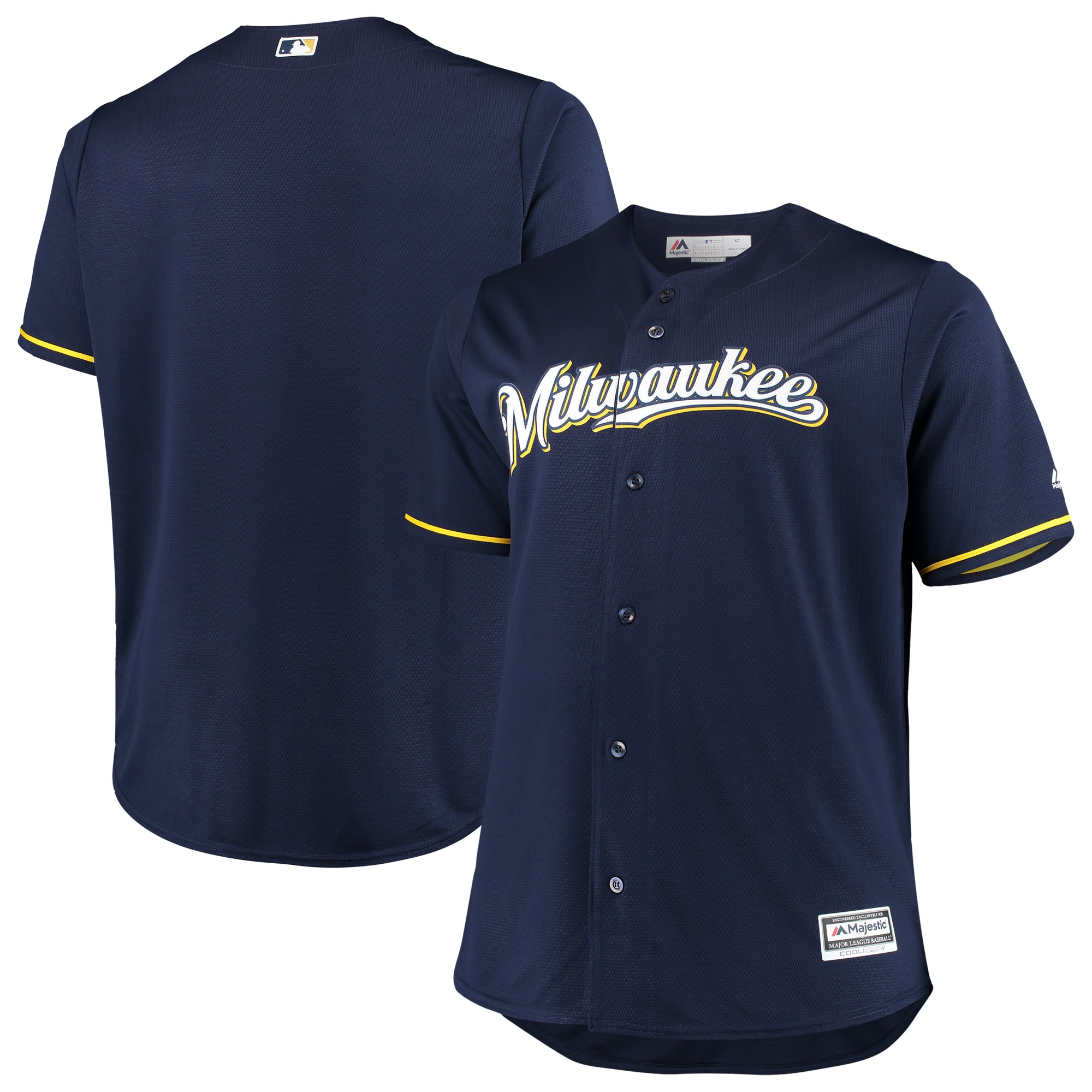 Milwaukee Brewers Majestic Alternate Home Big & Tall Team Cool Base Jersey - Navy