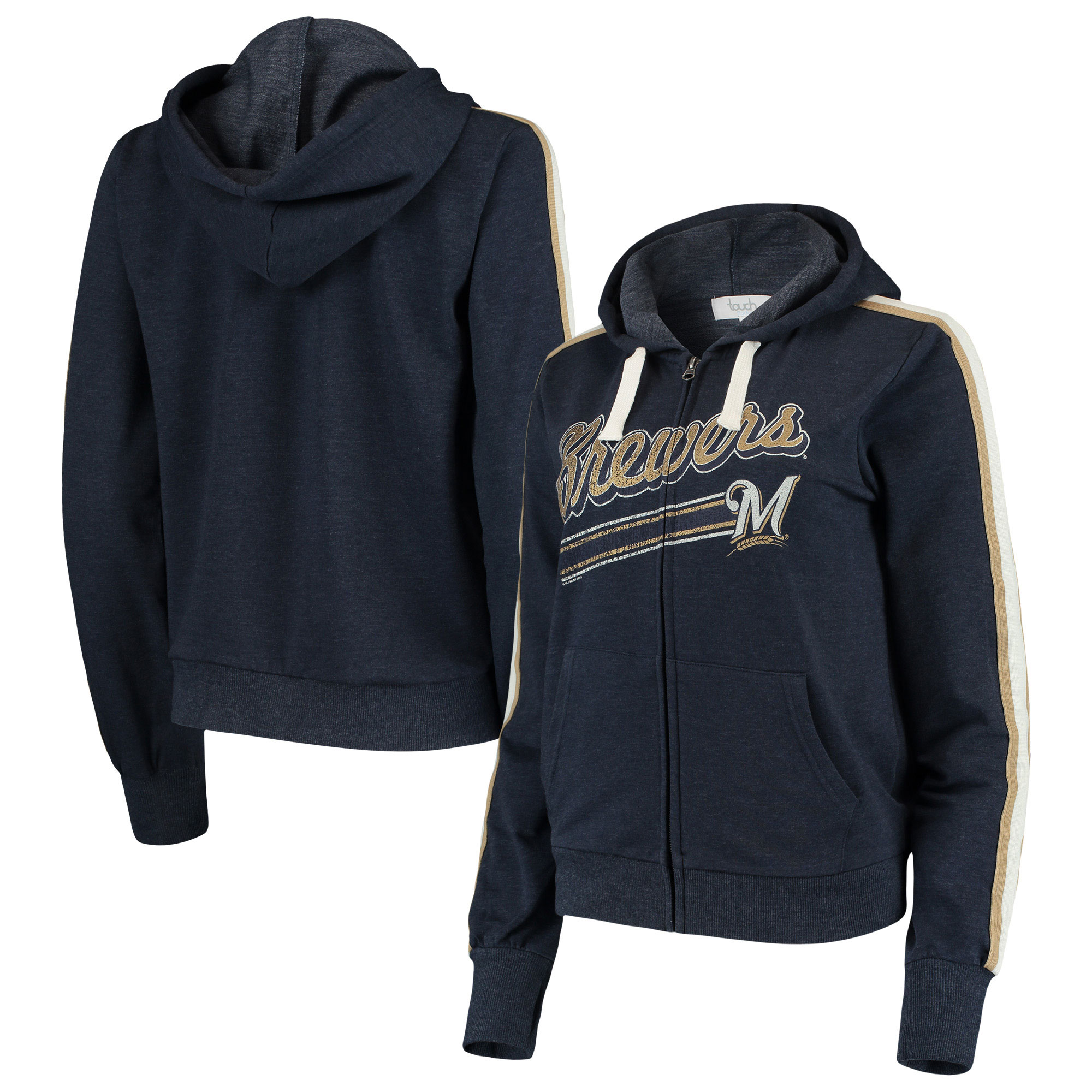 Milwaukee Brewers Touch by Alyssa Milano Women's Conference Full-Zip Hoodie - Navy