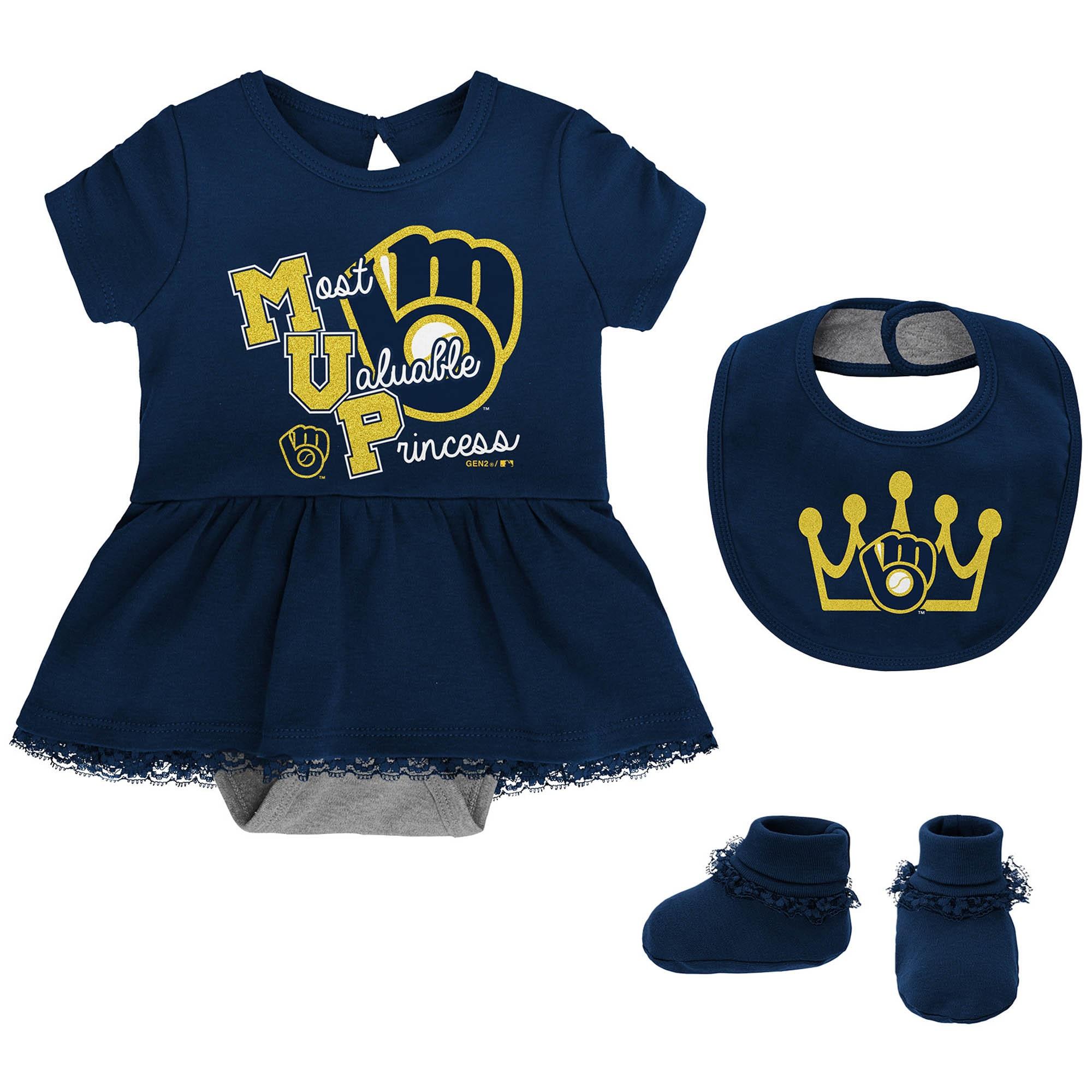 Milwaukee Brewers Girls Newborn & Infant Diamond Bodysuit, Bib & Booties Set - Navy