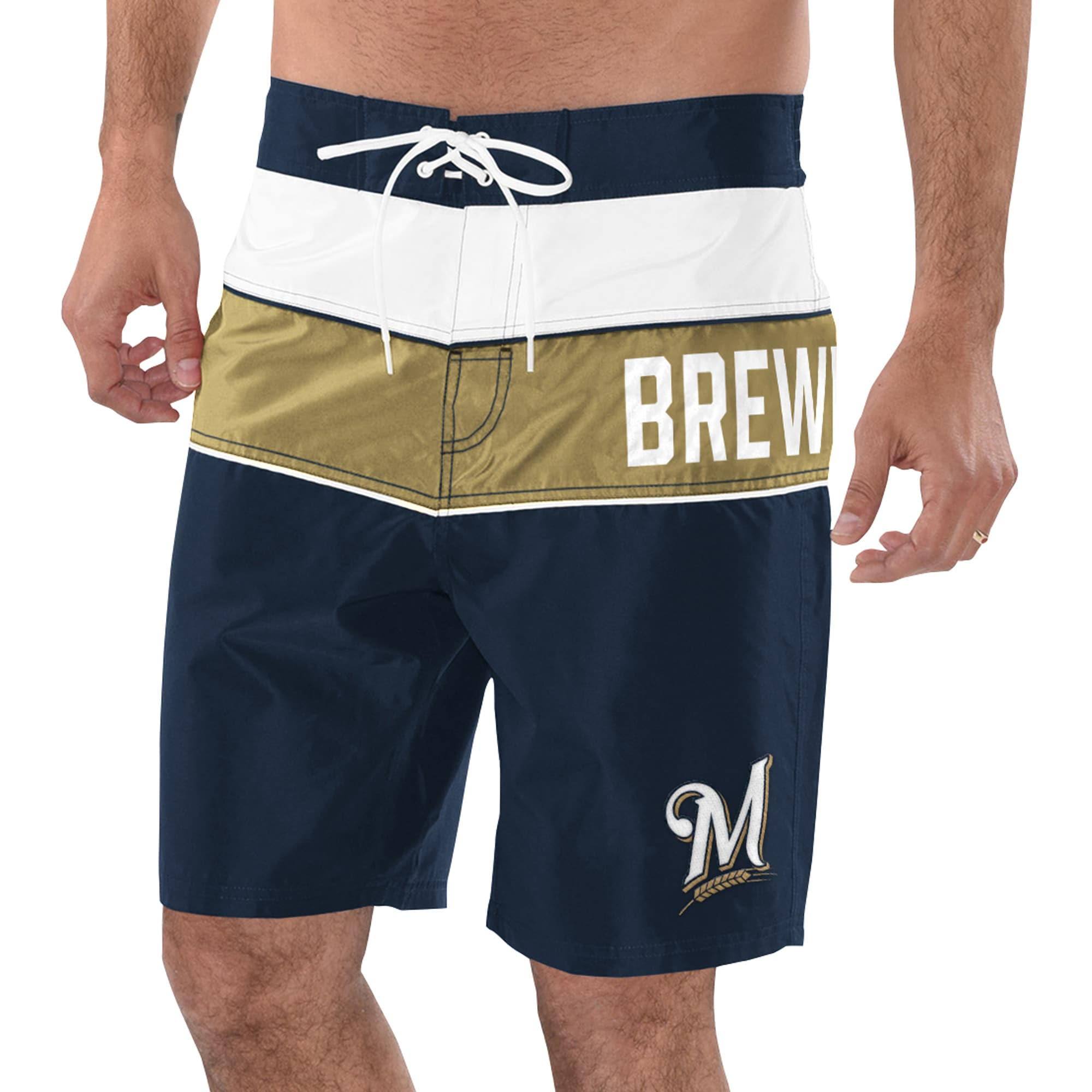 Milwaukee Brewers G-III Sports by Carl Banks All Star Swim Trunks - Navy/Gold