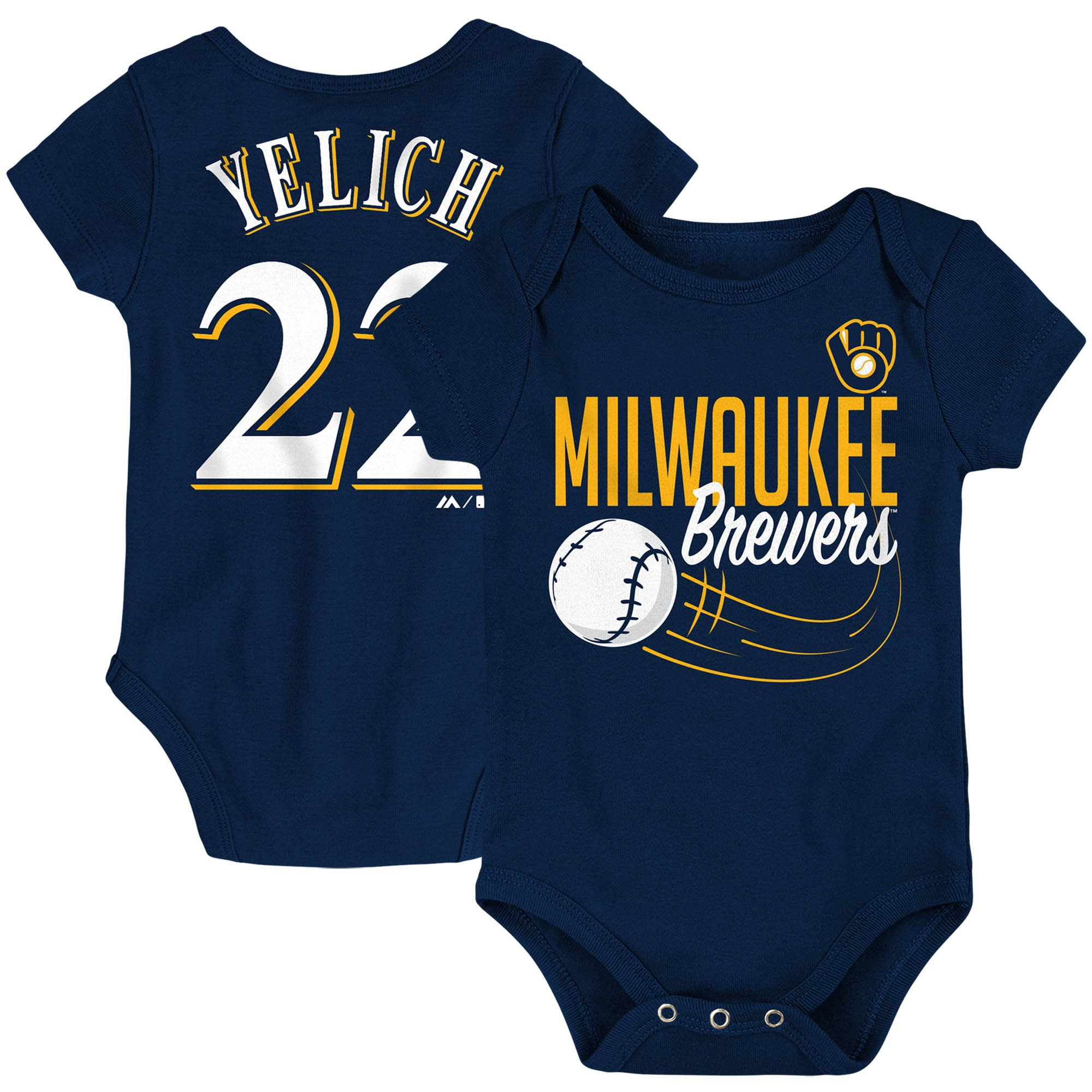 Christian Yelich Milwaukee Brewers Majestic Newborn & Infant Baby Slugger Name & Number Bodysuit - Navy