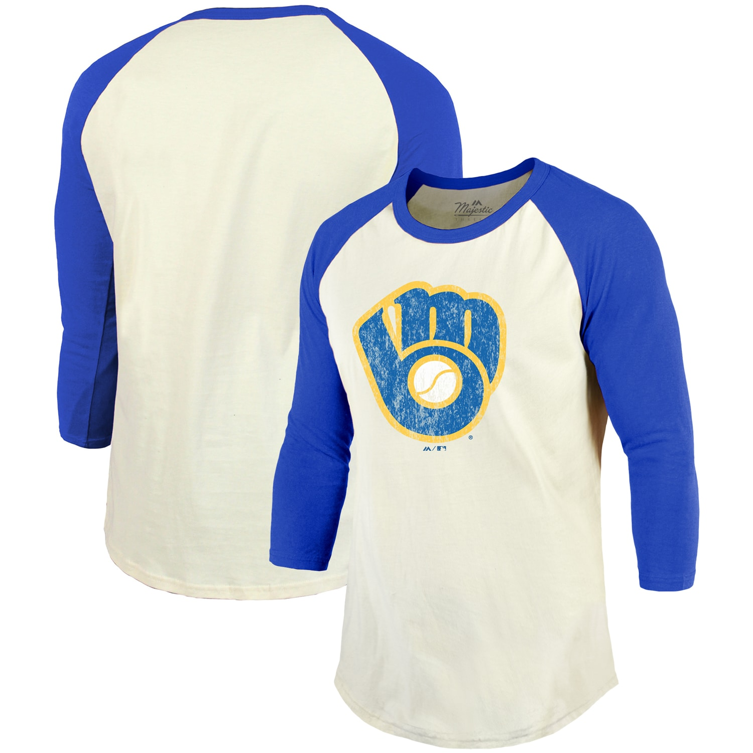 Milwaukee Brewers Majestic Threads Cooperstown Collection Raglan 3/4-Sleeve T-Shirt - Cream/Royal