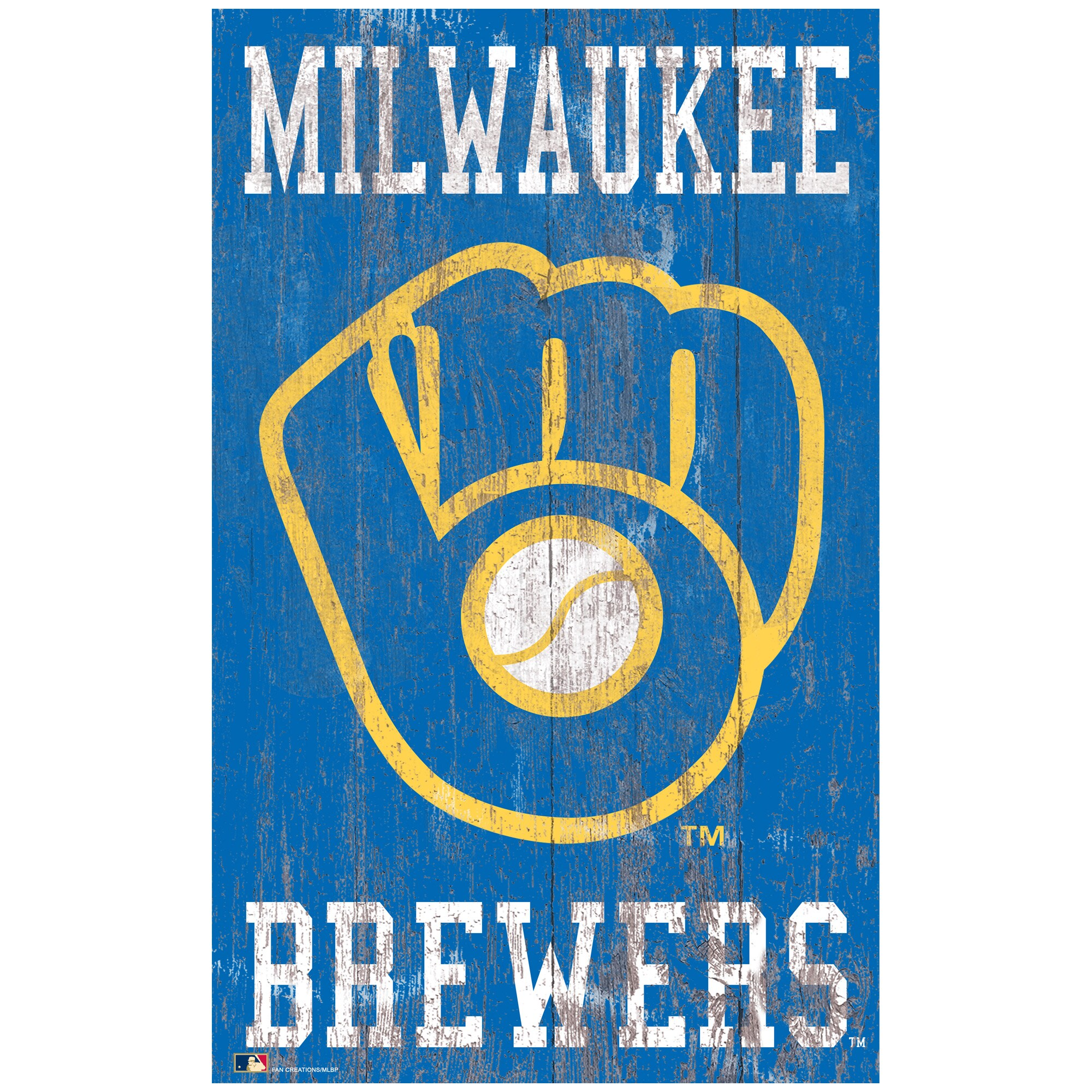 Milwaukee Brewers 11'' x 19'' Heritage Distressed Logo Sign