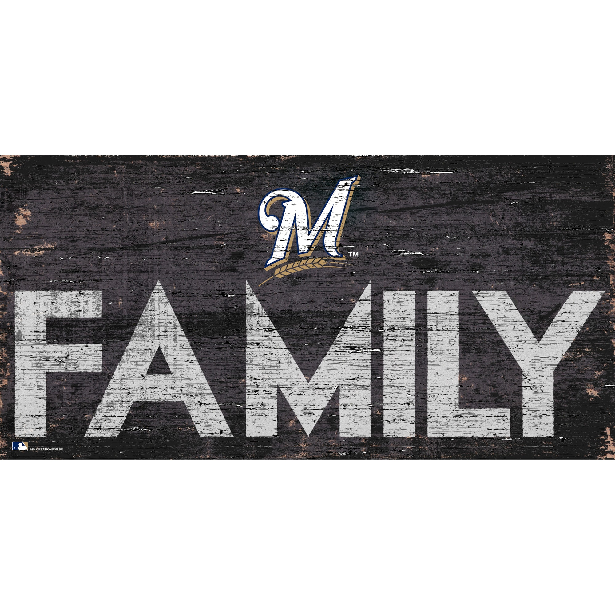 Milwaukee Brewers 12'' x 6'' Family Sign