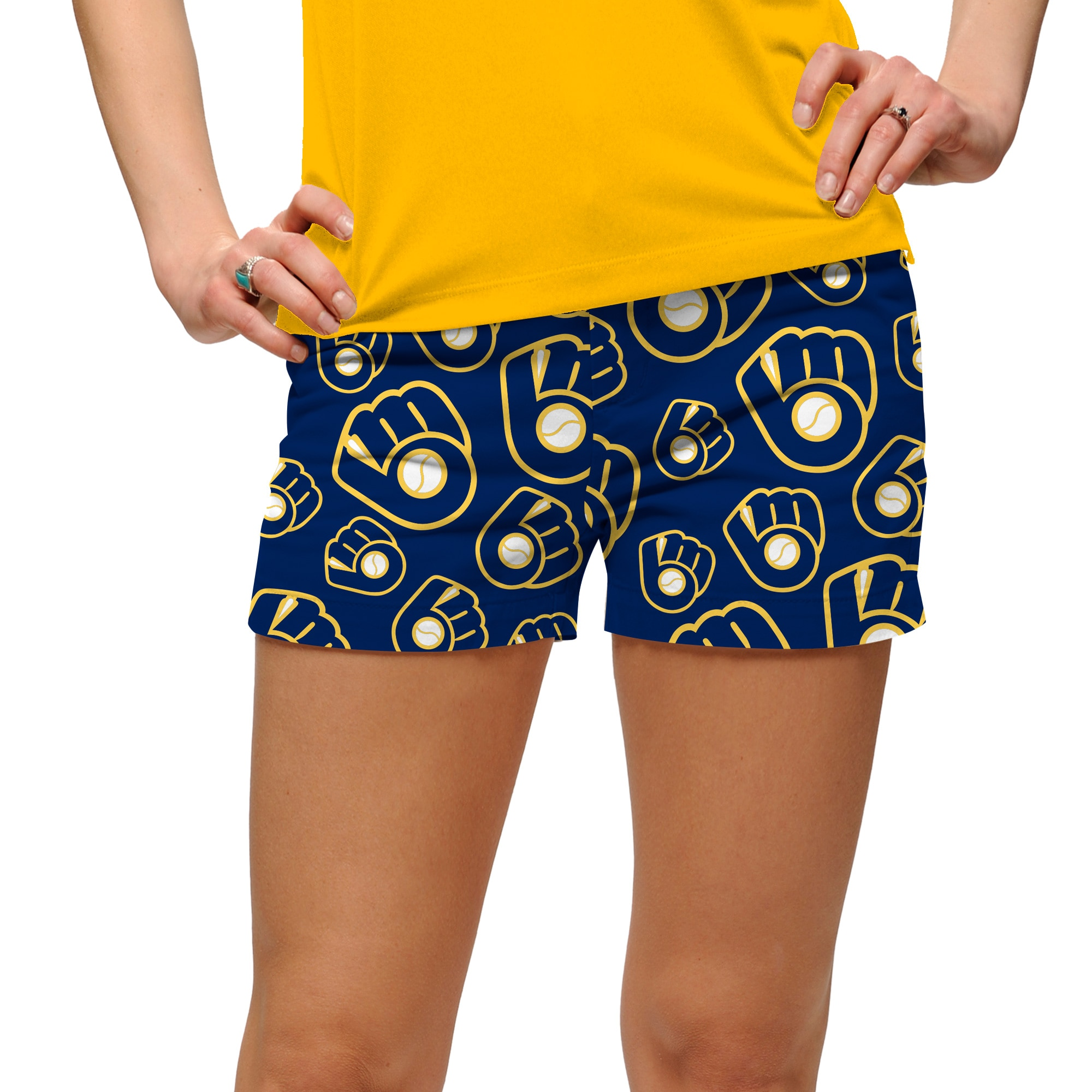 Milwaukee Brewers Loudmouth Women's Cooperstown Retro Mini Shorts - Navy/Gold