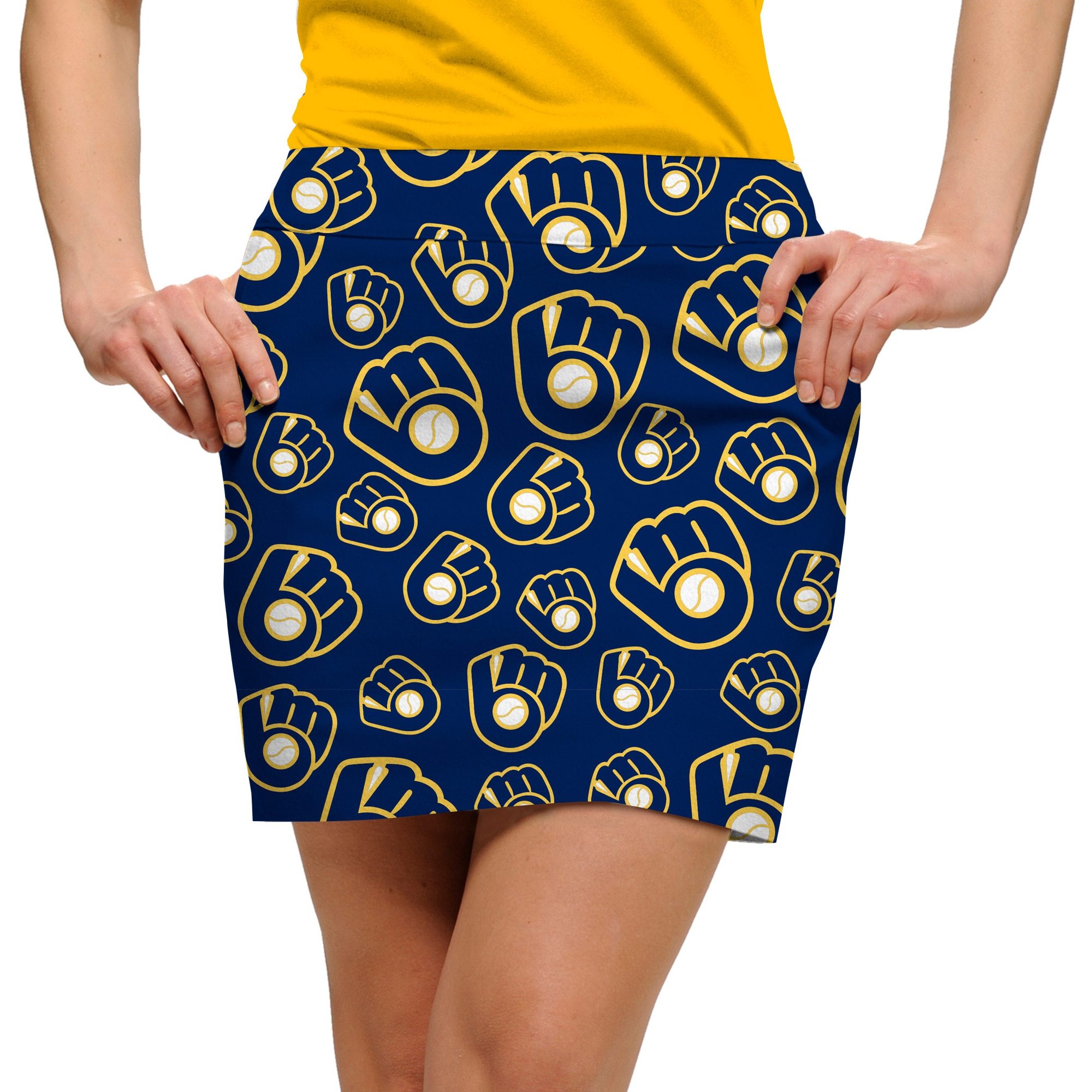 Milwaukee Brewers Loudmouth Women's Cooperstown Retro Skort - Navy/Gold